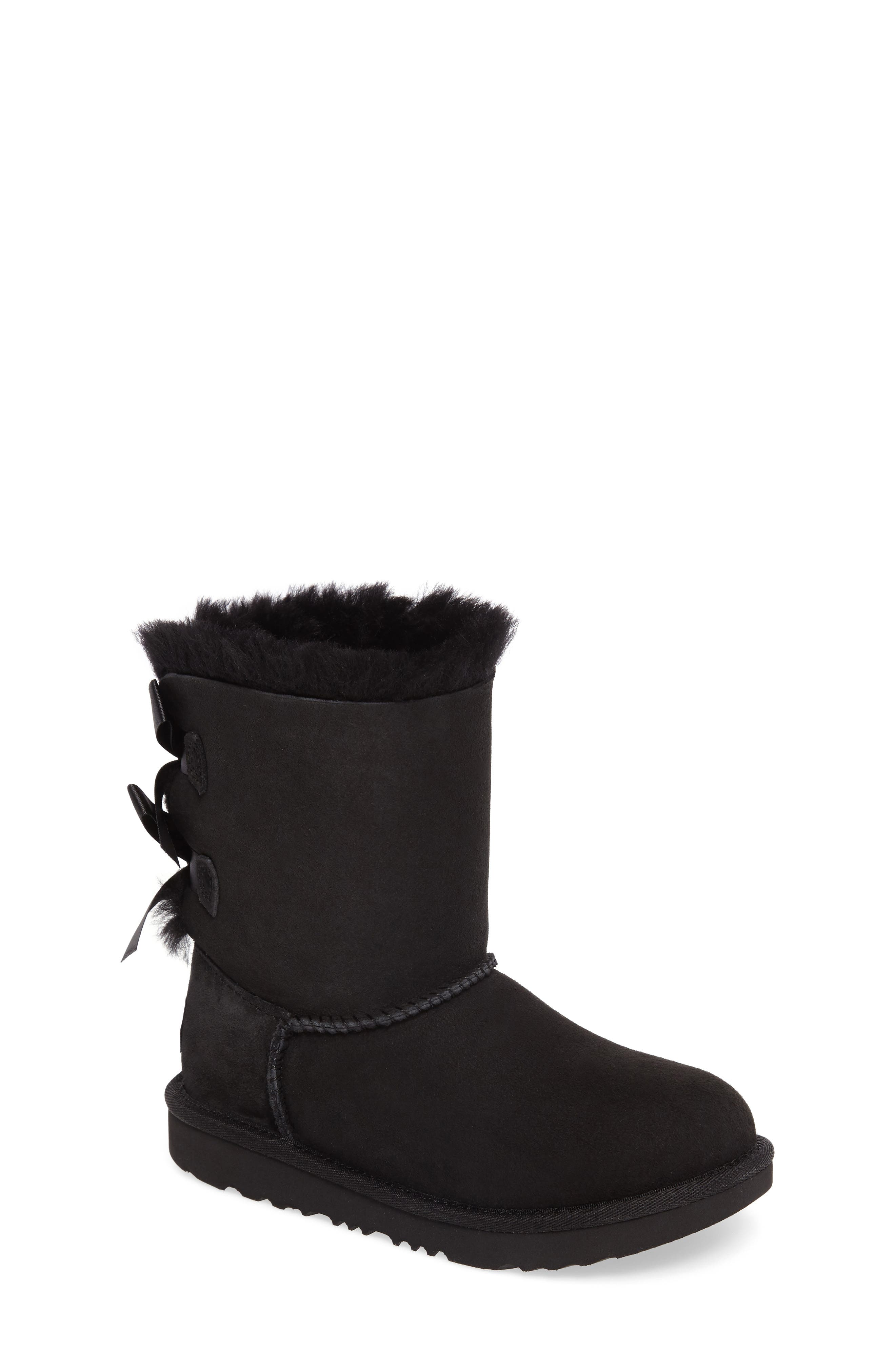 Bailey Bow II Water Resistant Genuine Shearling Boot,                             Main thumbnail 1, color,                             BLACK SUEDE