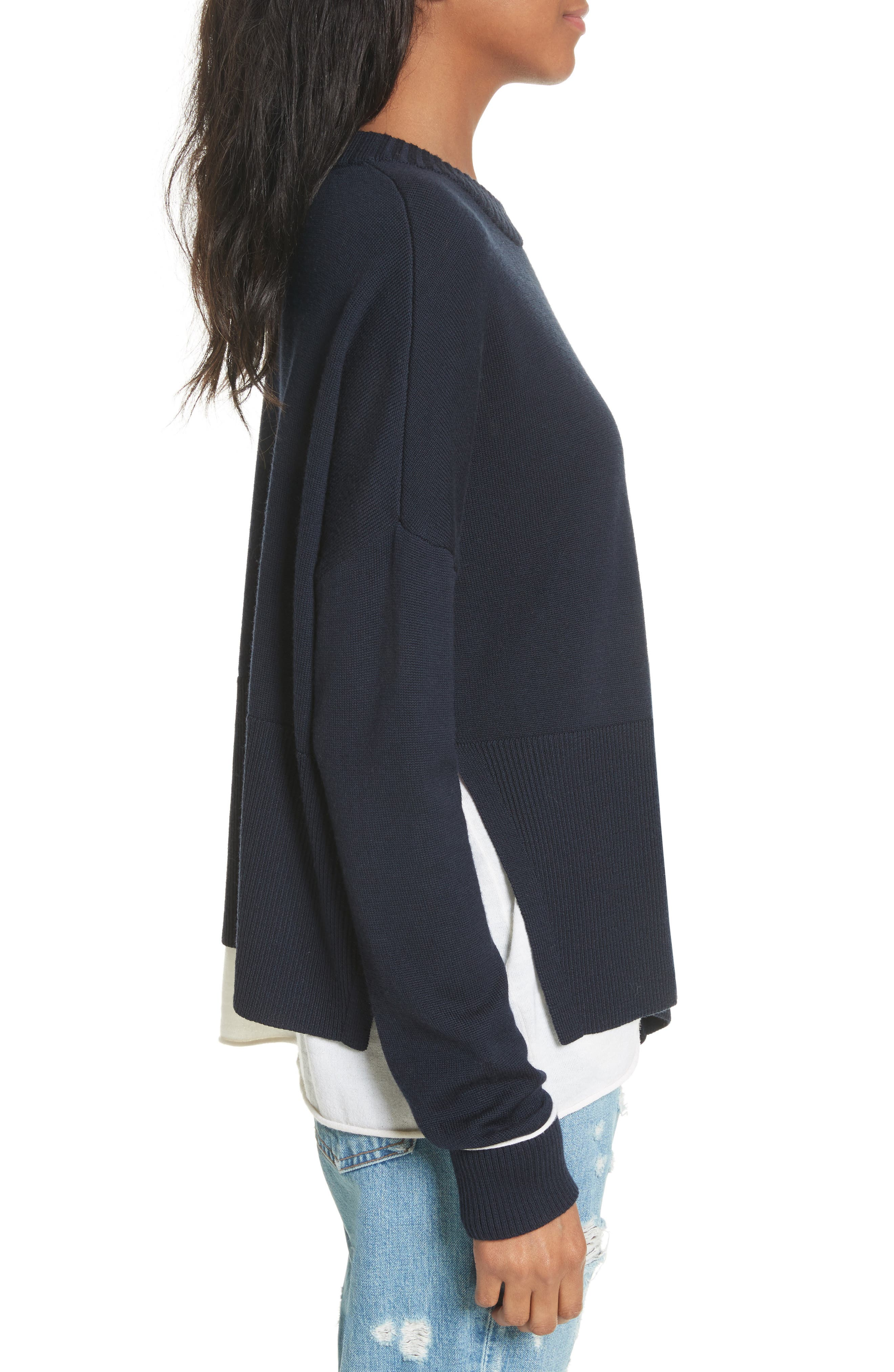 Layered Hem Wool & Cotton Sweater,                             Alternate thumbnail 3, color,                             477