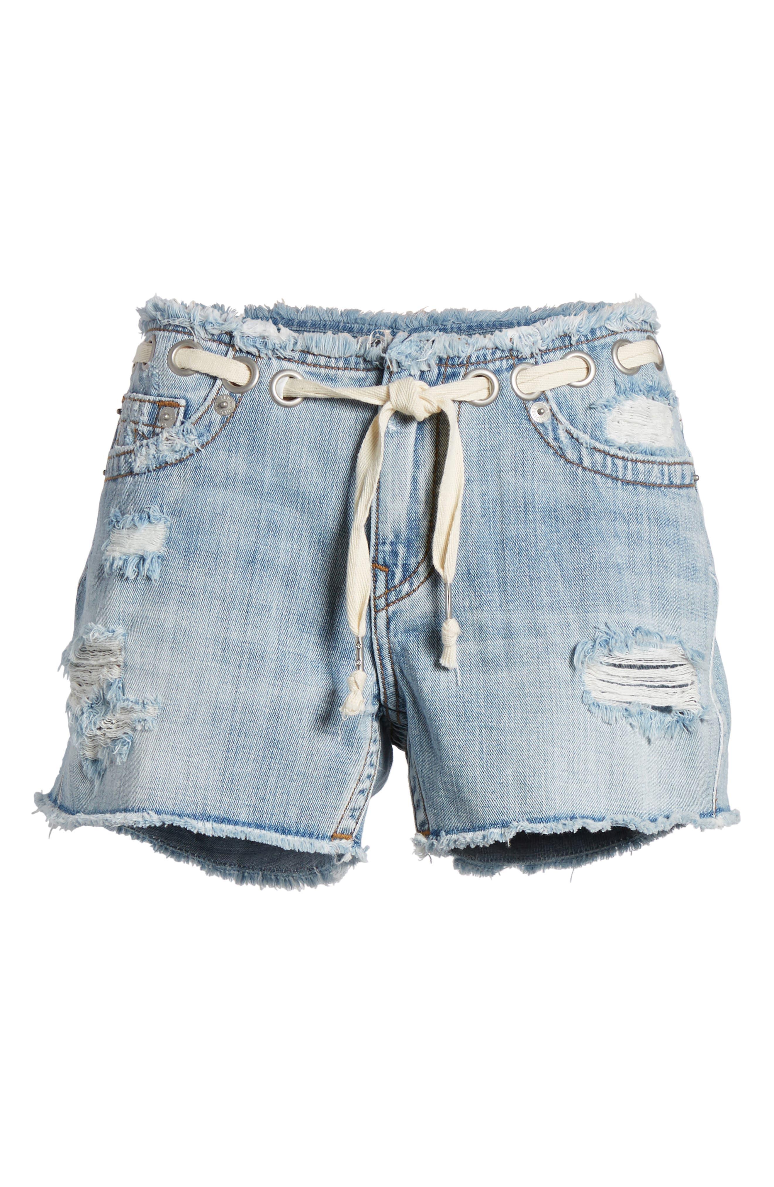 Fashion Distressed Denim Shorts,                             Alternate thumbnail 7, color,                             401