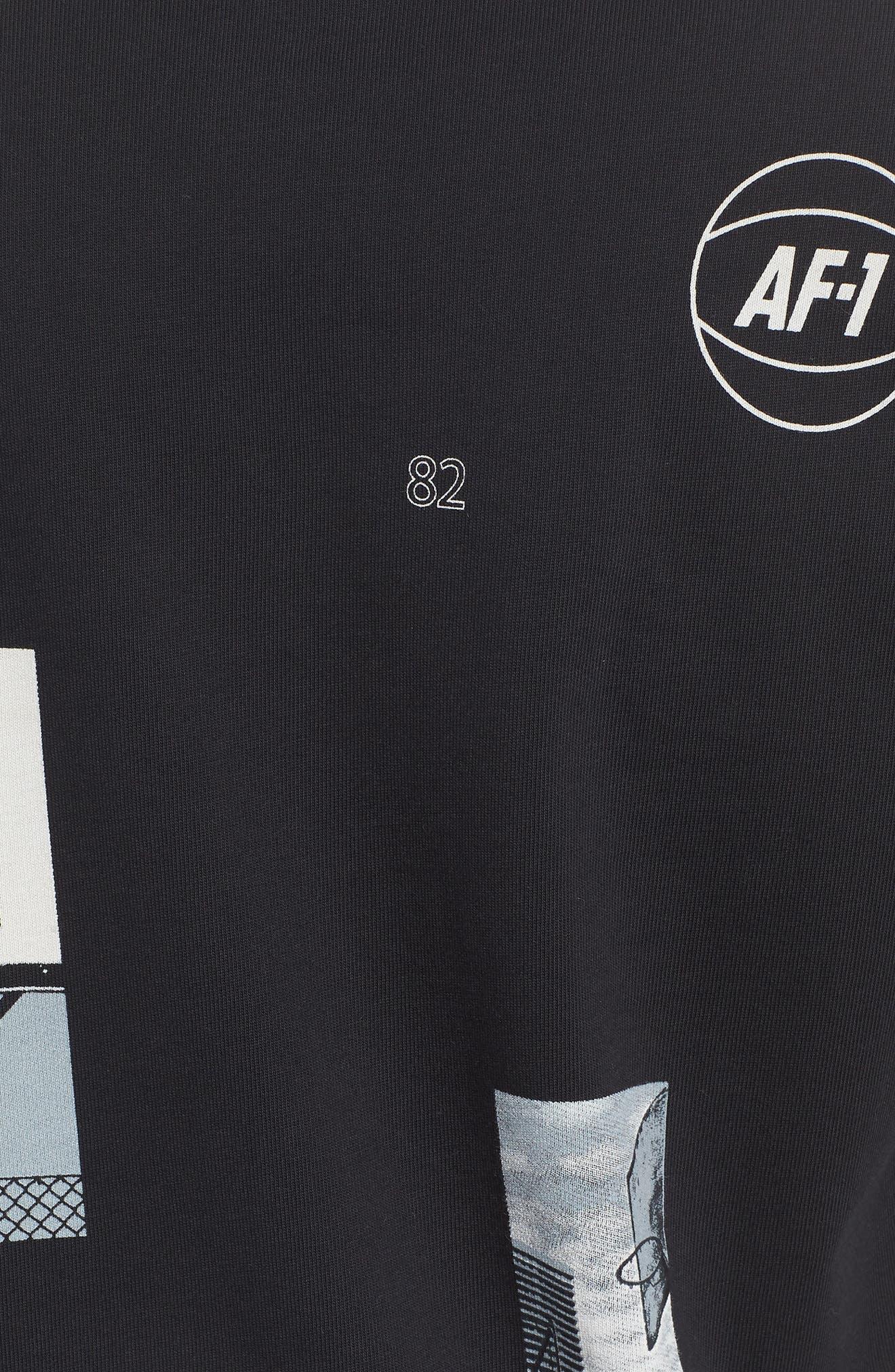 Sportswear AF-1 Oversize T-Shirt,                             Alternate thumbnail 5, color,                             BLACK/ WHITE