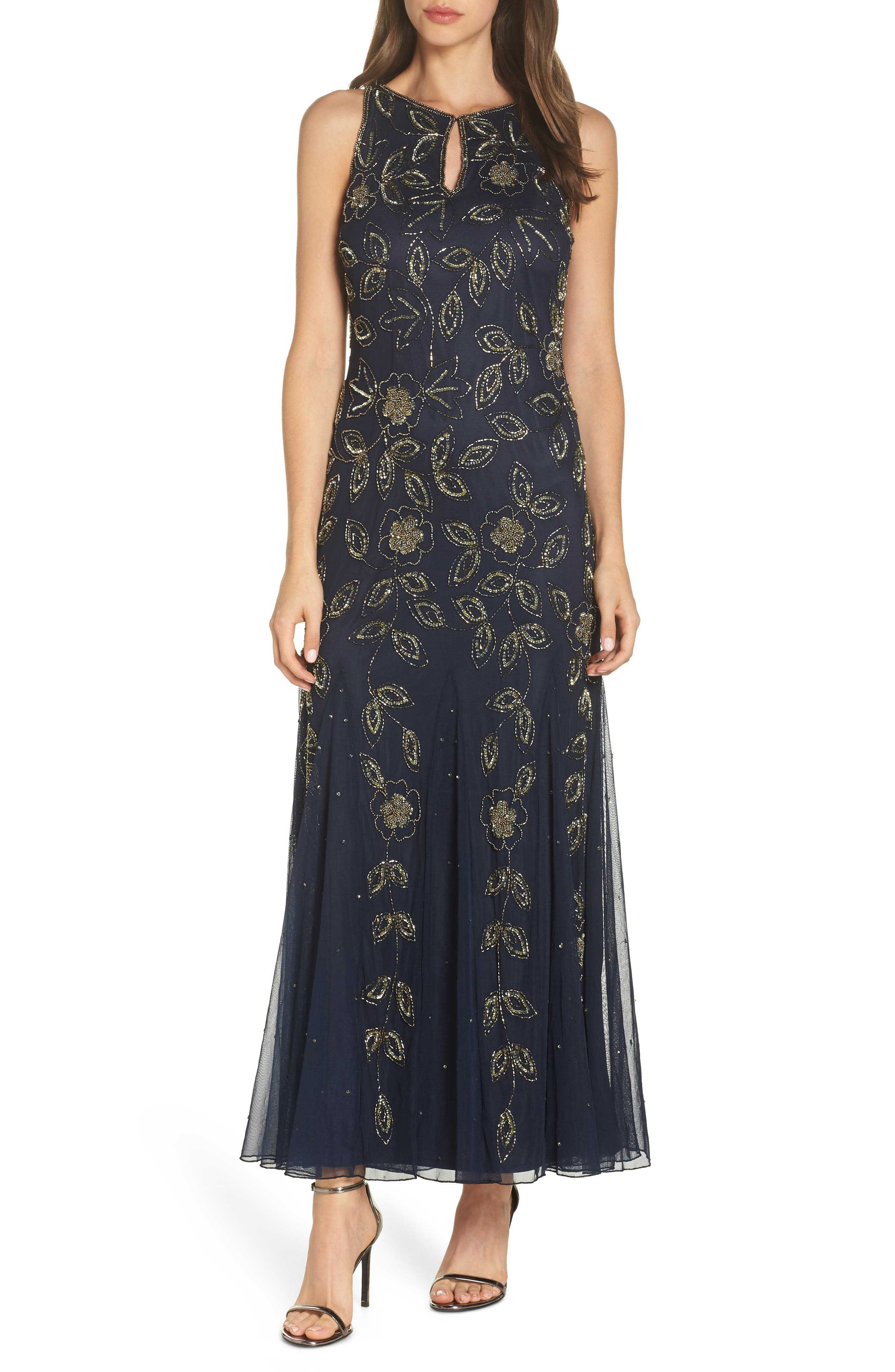 Beaded Godet Gown,                         Main,                         color, 410