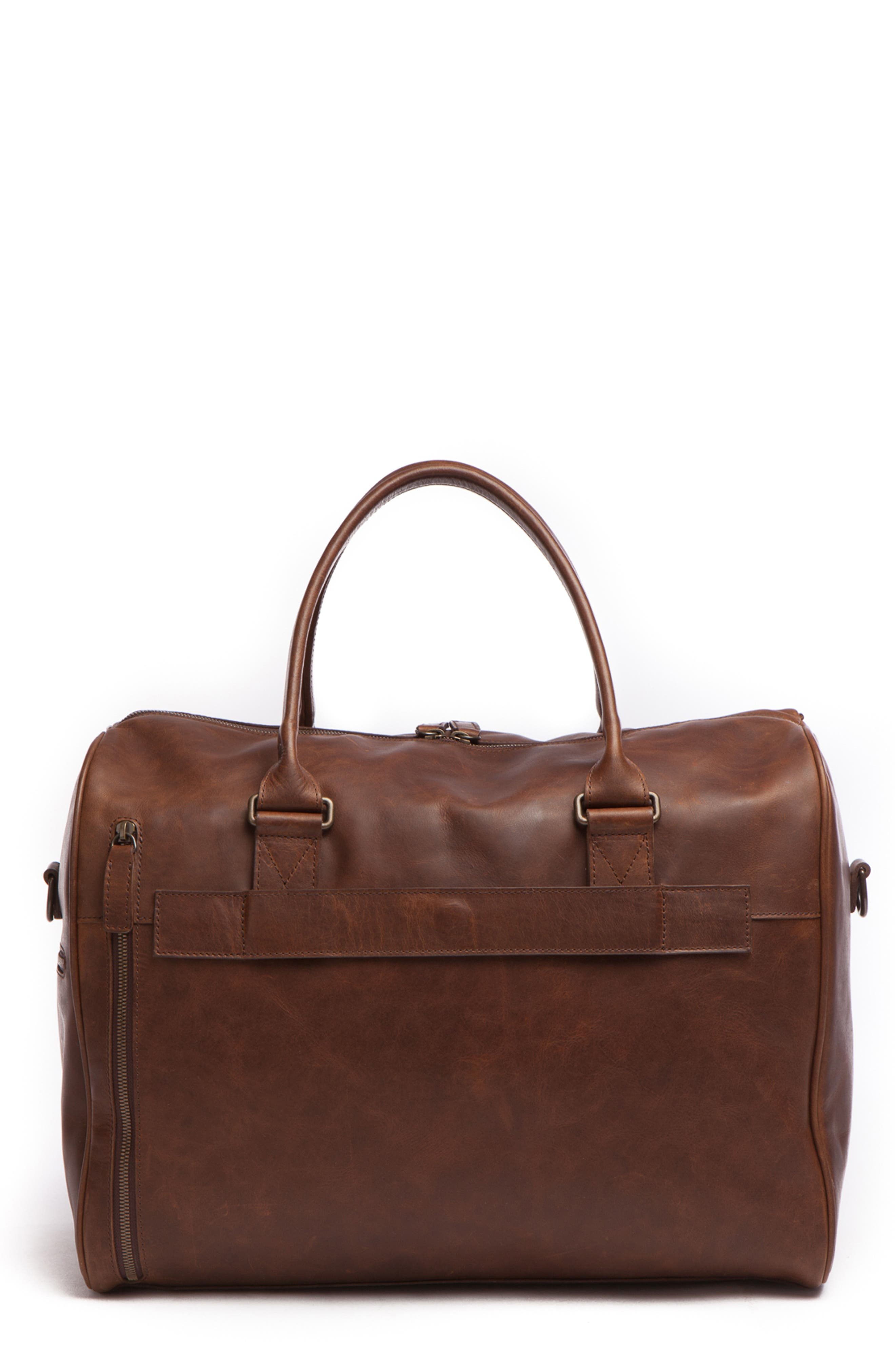 Booker Leather Duffel Bag,                             Main thumbnail 1, color,                             BALDWIN OAK