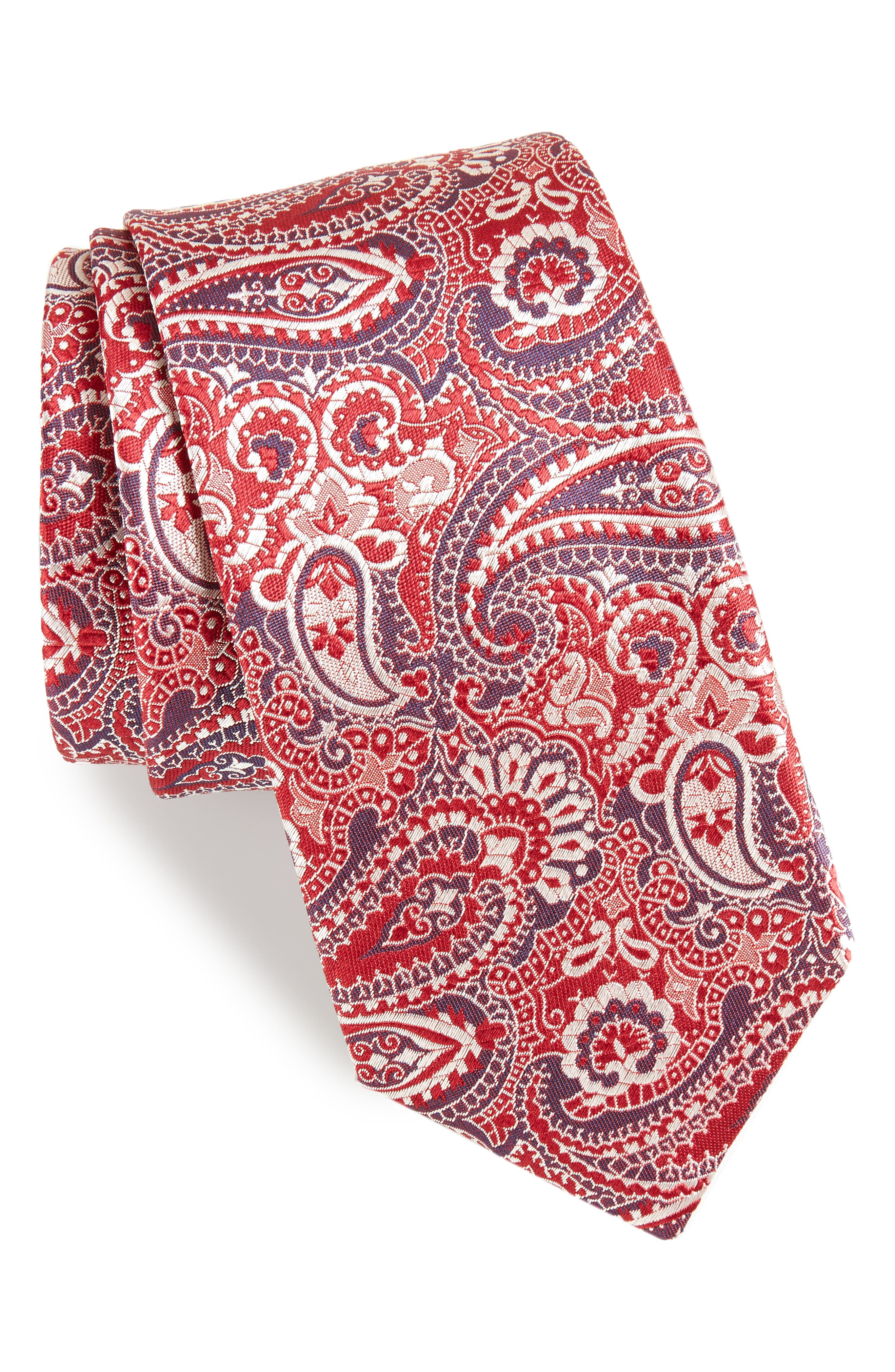 Paisley Silk Tie,                             Main thumbnail 1, color,                             629