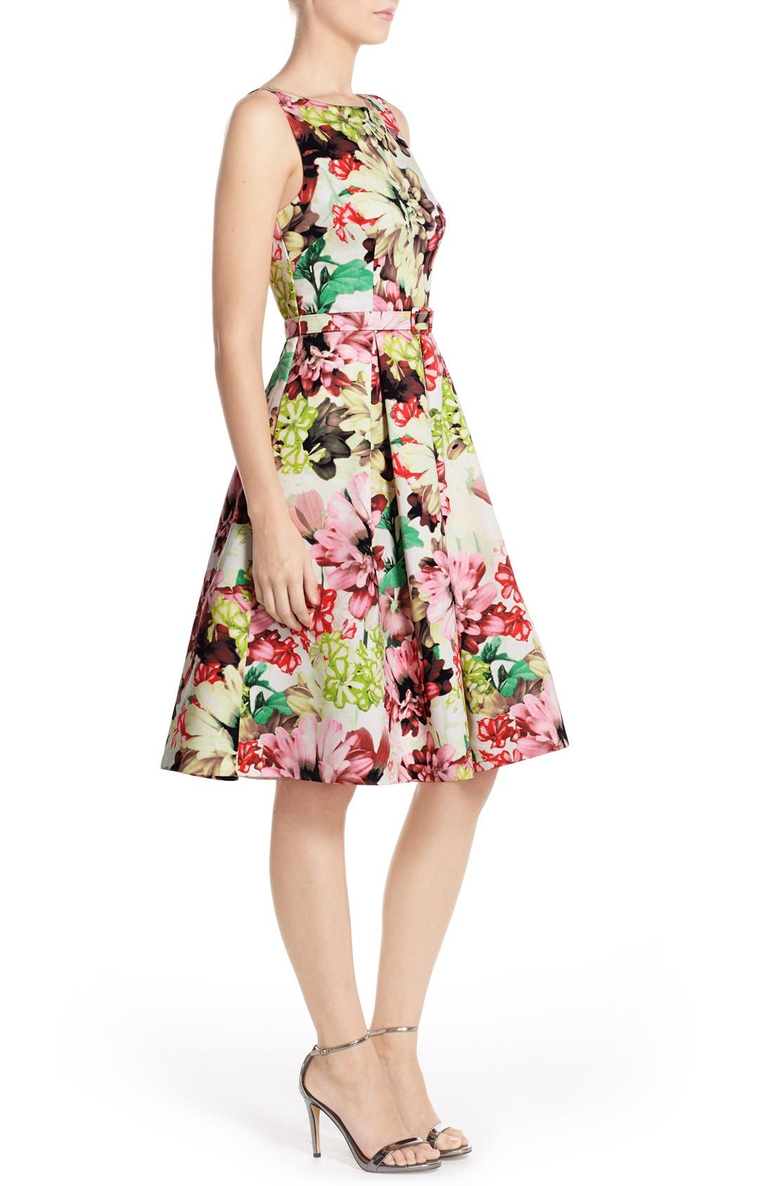 Belted Floral Print Faille Fit & Flare Dress,                             Alternate thumbnail 3, color,                             360