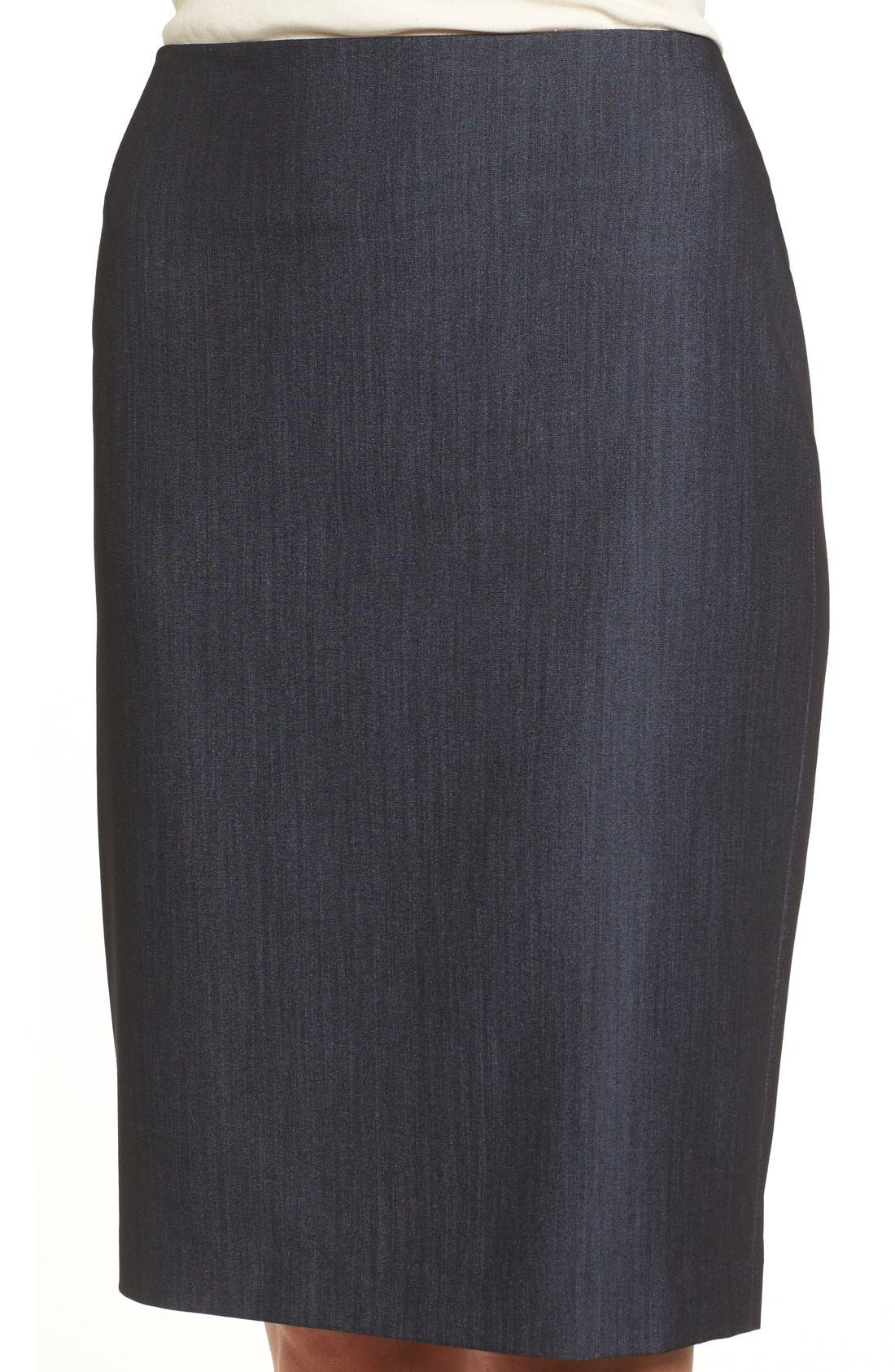 ANNE KLEIN,                             Stretch Woven Suit Skirt,                             Alternate thumbnail 4, color,                             INDIGO TWILL