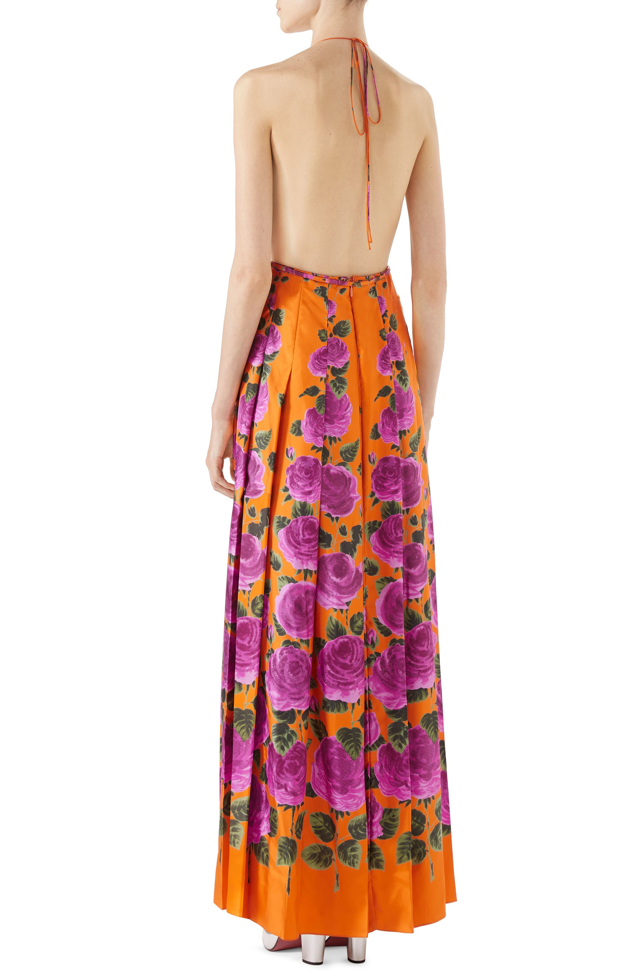 Rose Print Silk Halter Maxi Dress,                             Alternate thumbnail 2, color,                             ORANGE-PINK