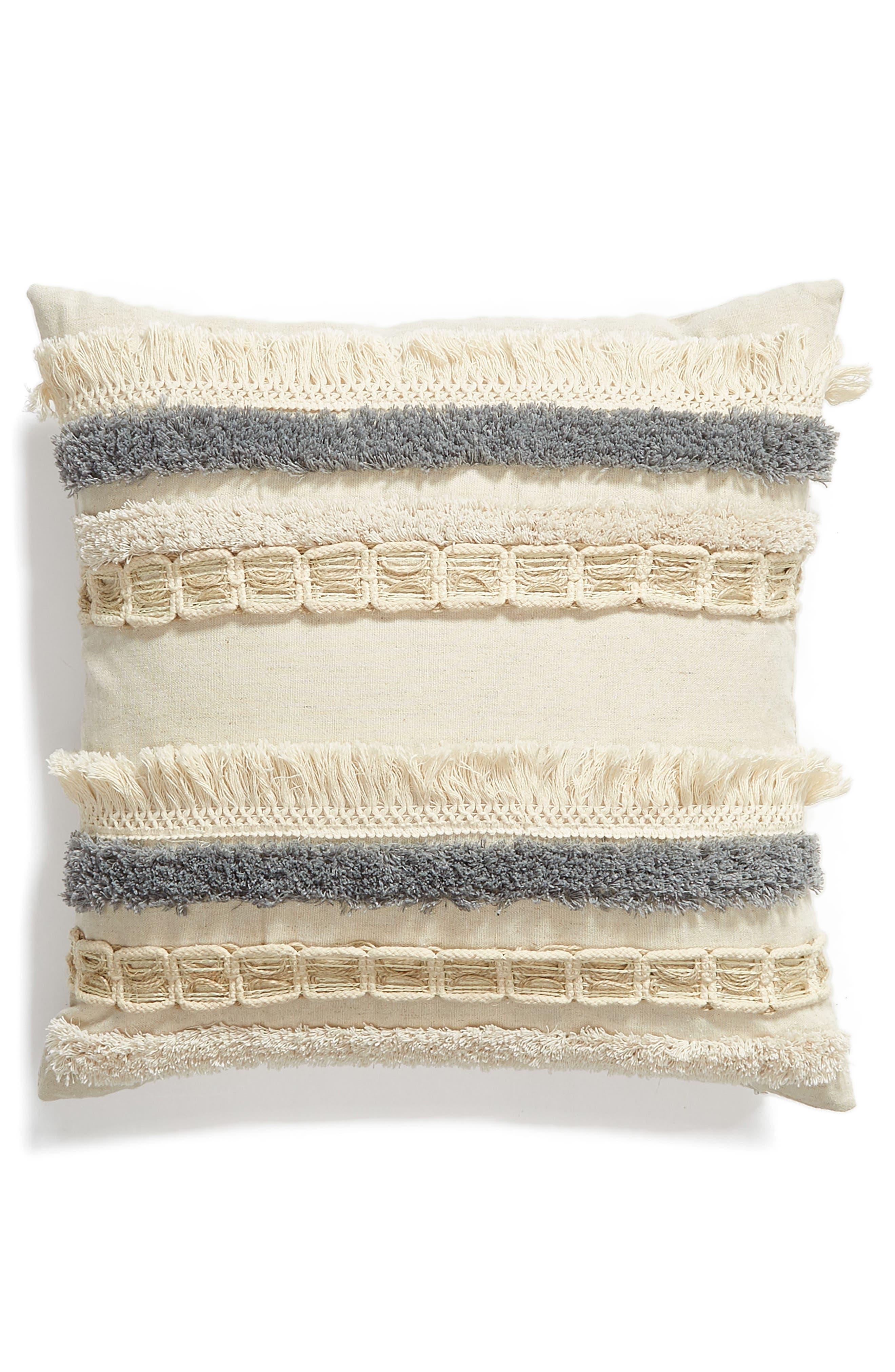 LEVTEX,                             Hilo Fringe Accent Pillow,                             Main thumbnail 1, color,                             NATURAL