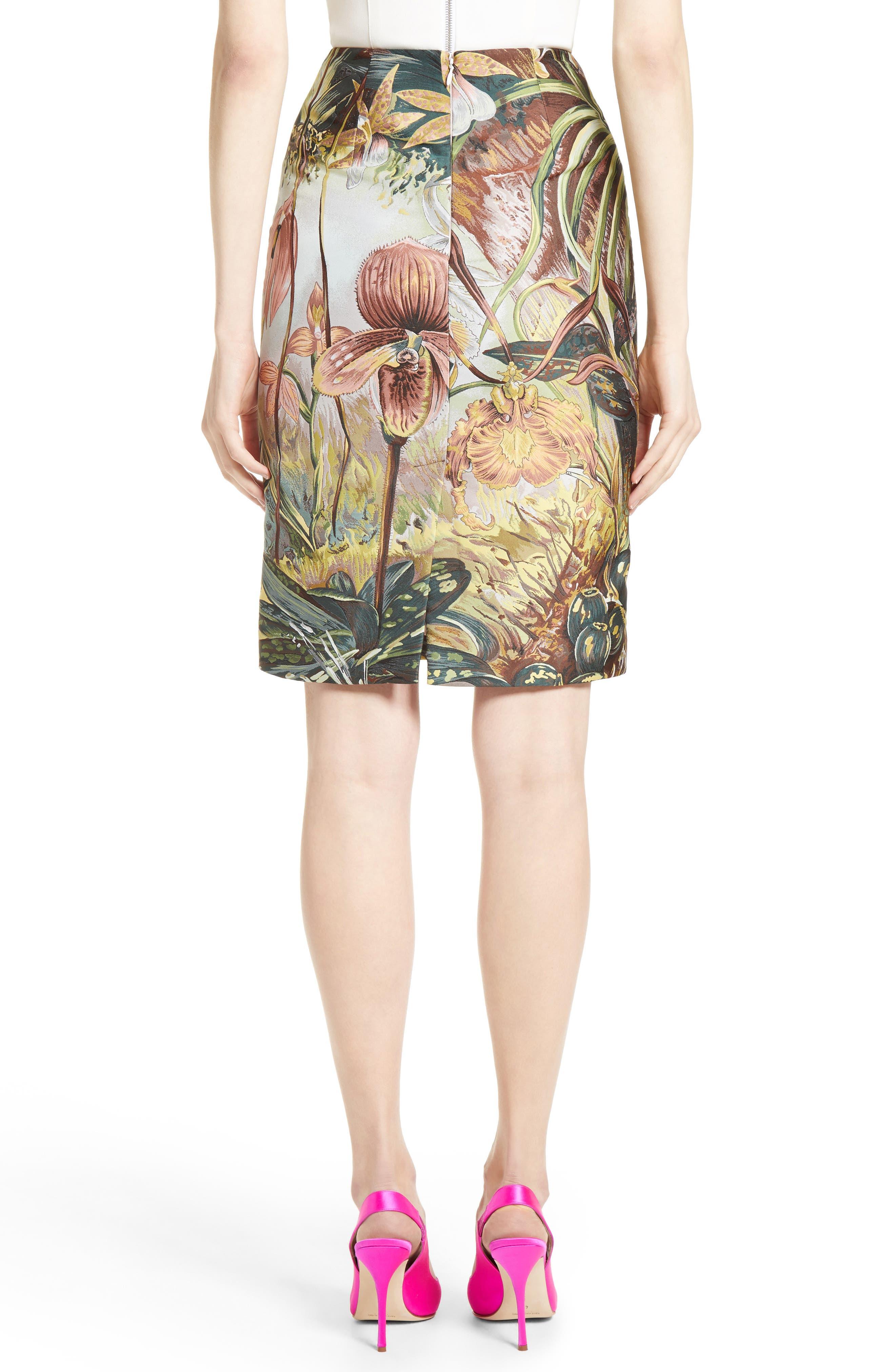 Orchid Print Jacquard Pencil Skirt,                             Alternate thumbnail 2, color,                             650