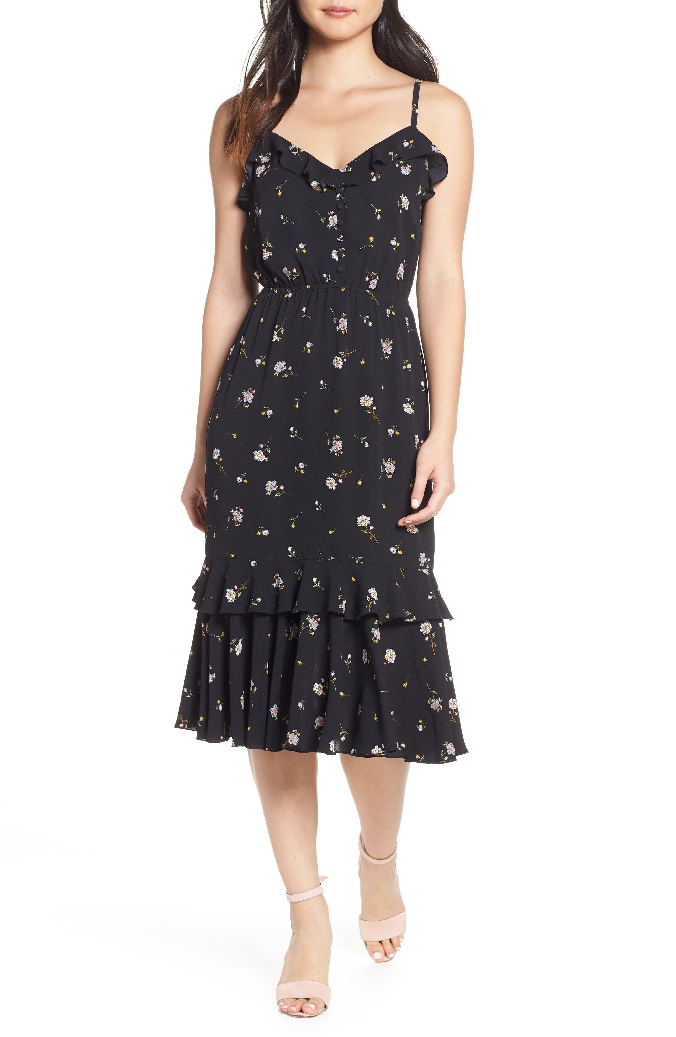 Ali & Jay Cloud Steps Floral Midi Dress, Black