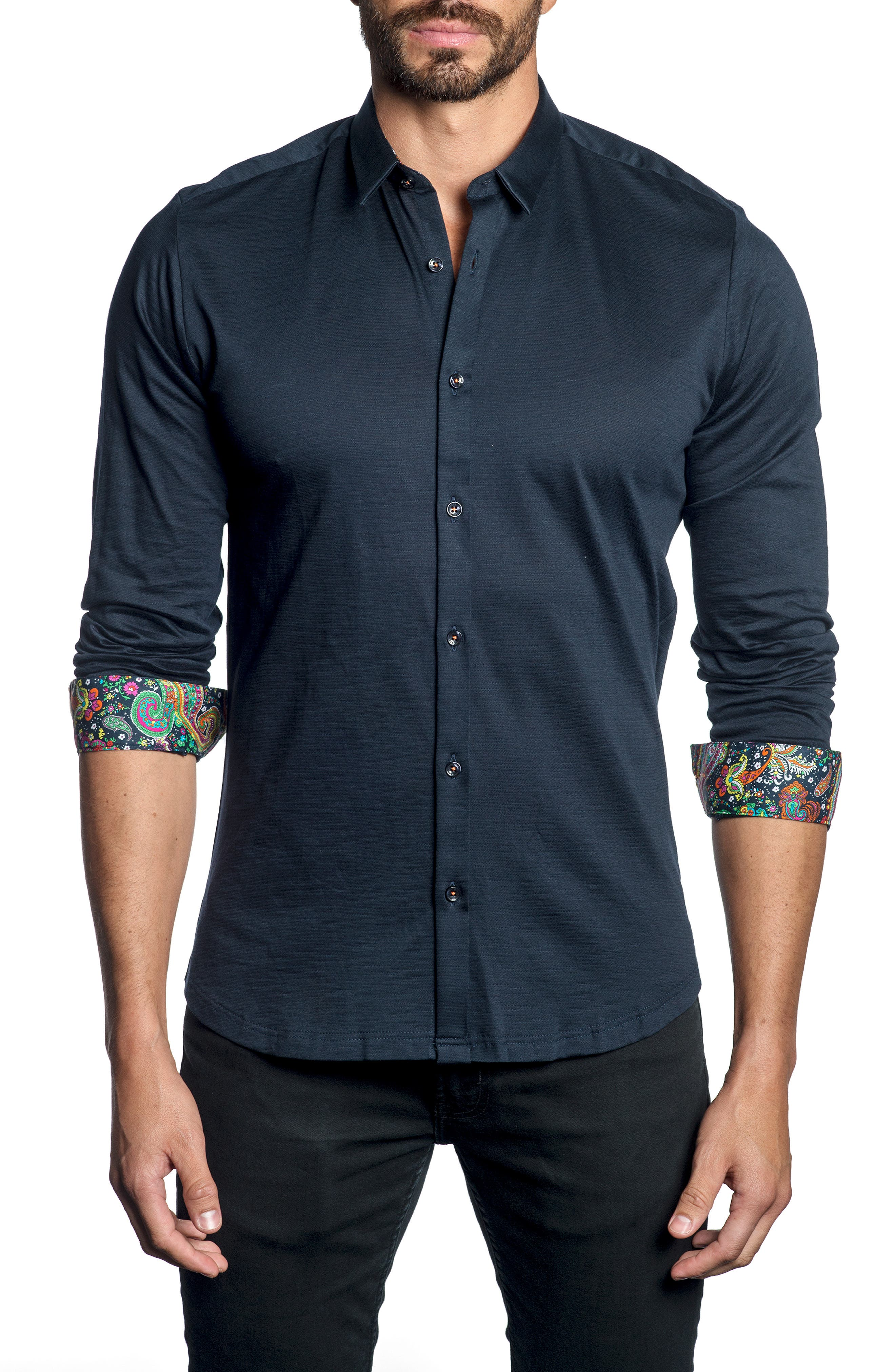 Paisley Cuff Sport Shirt,                         Main,                         color, MIDNIGHT