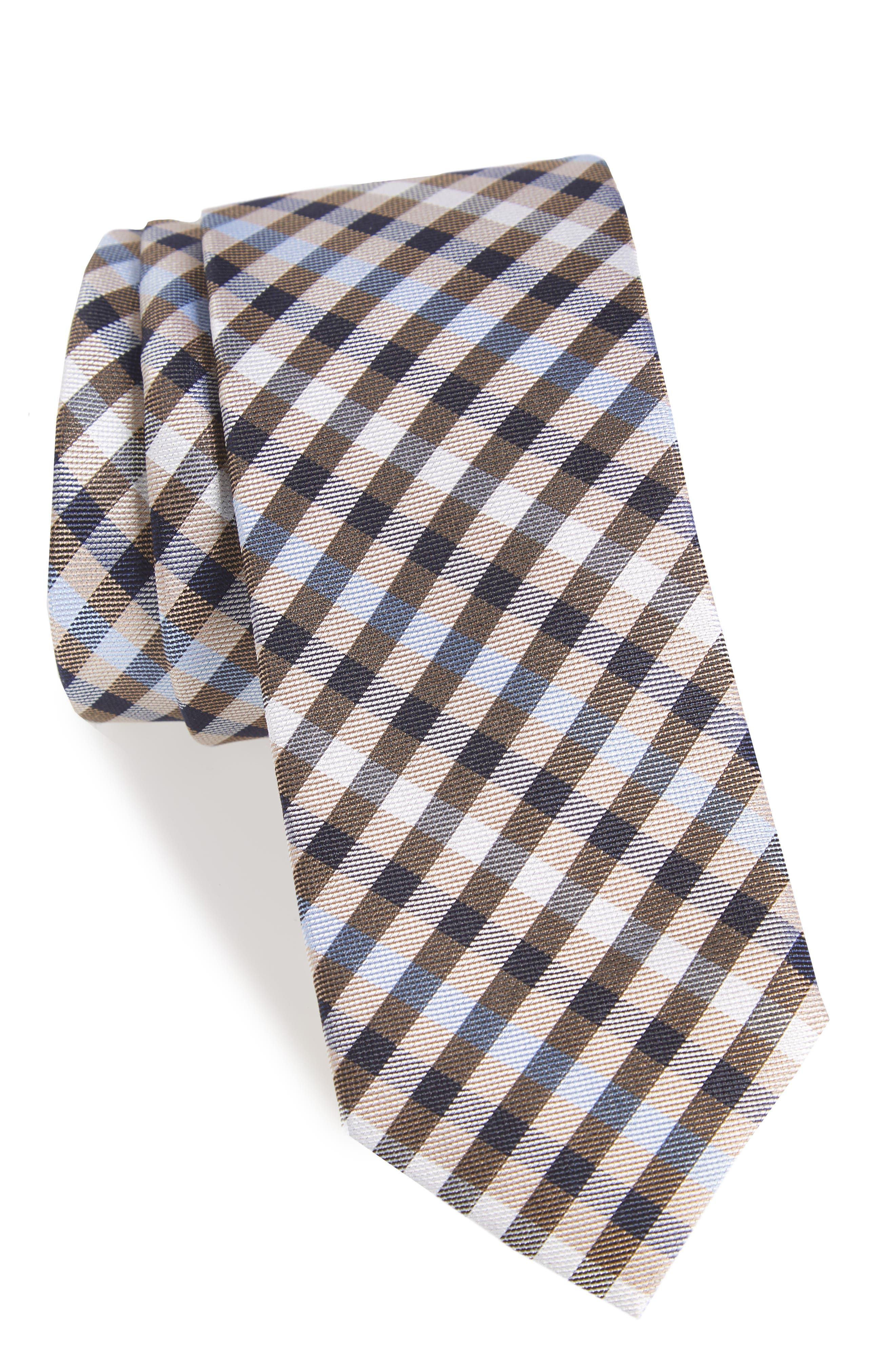 Wynant Check Skinny Silk Tie,                         Main,                         color, TAUPE