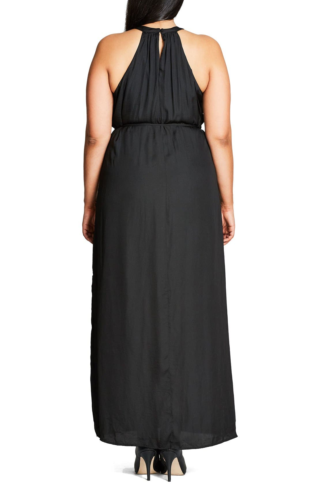 Ring Detail Maxi Dress,                             Alternate thumbnail 7, color,                             001