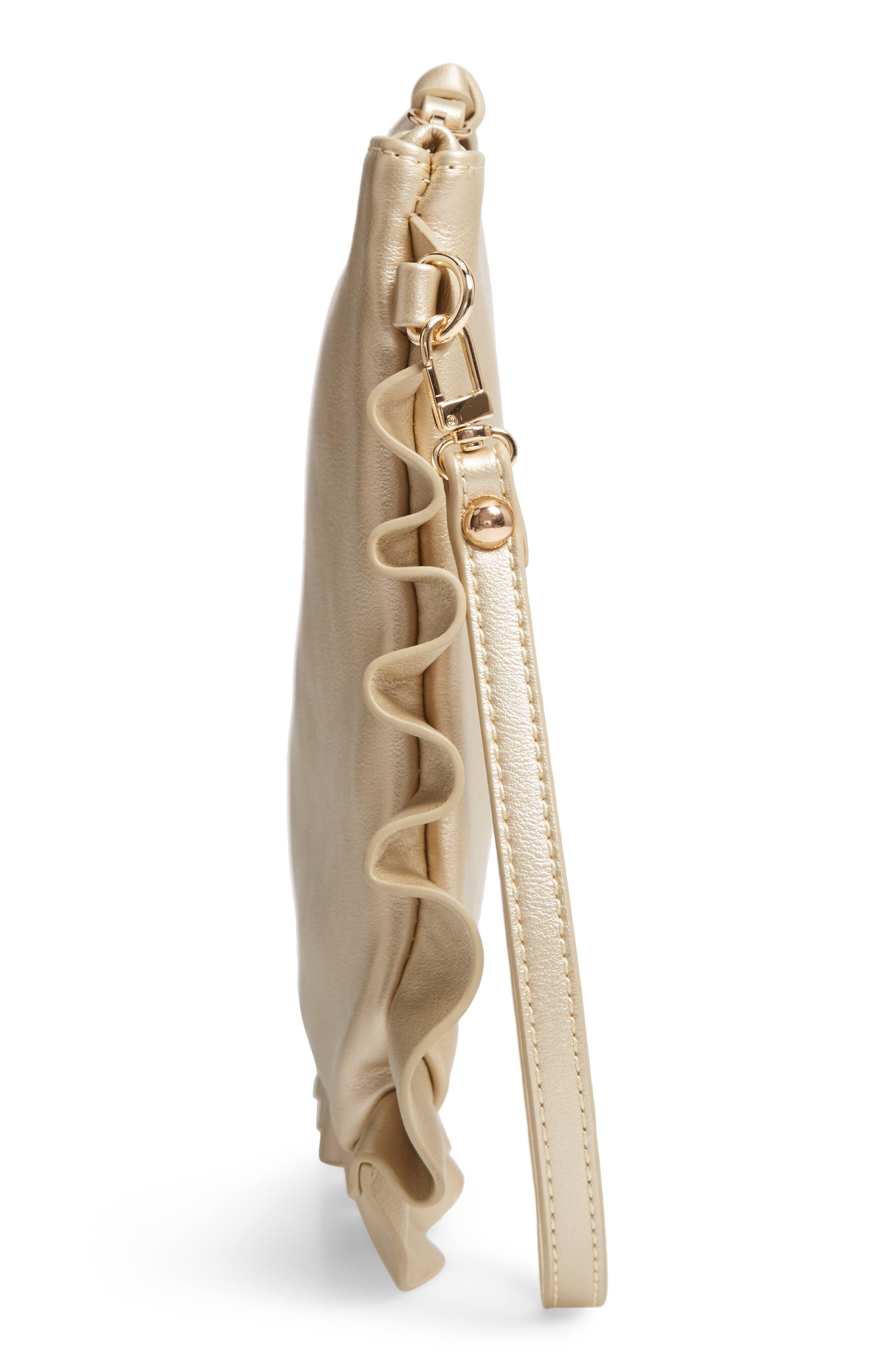 SOLE SOCIETY,                             Adelina Faux Leather Ruffle Clutch,                             Alternate thumbnail 5, color,                             GOLD