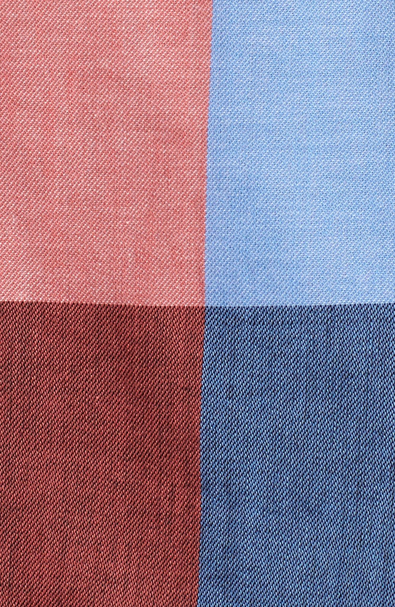 Double Breasted Plaid Cotton Blazer,                             Alternate thumbnail 7, color,                             650