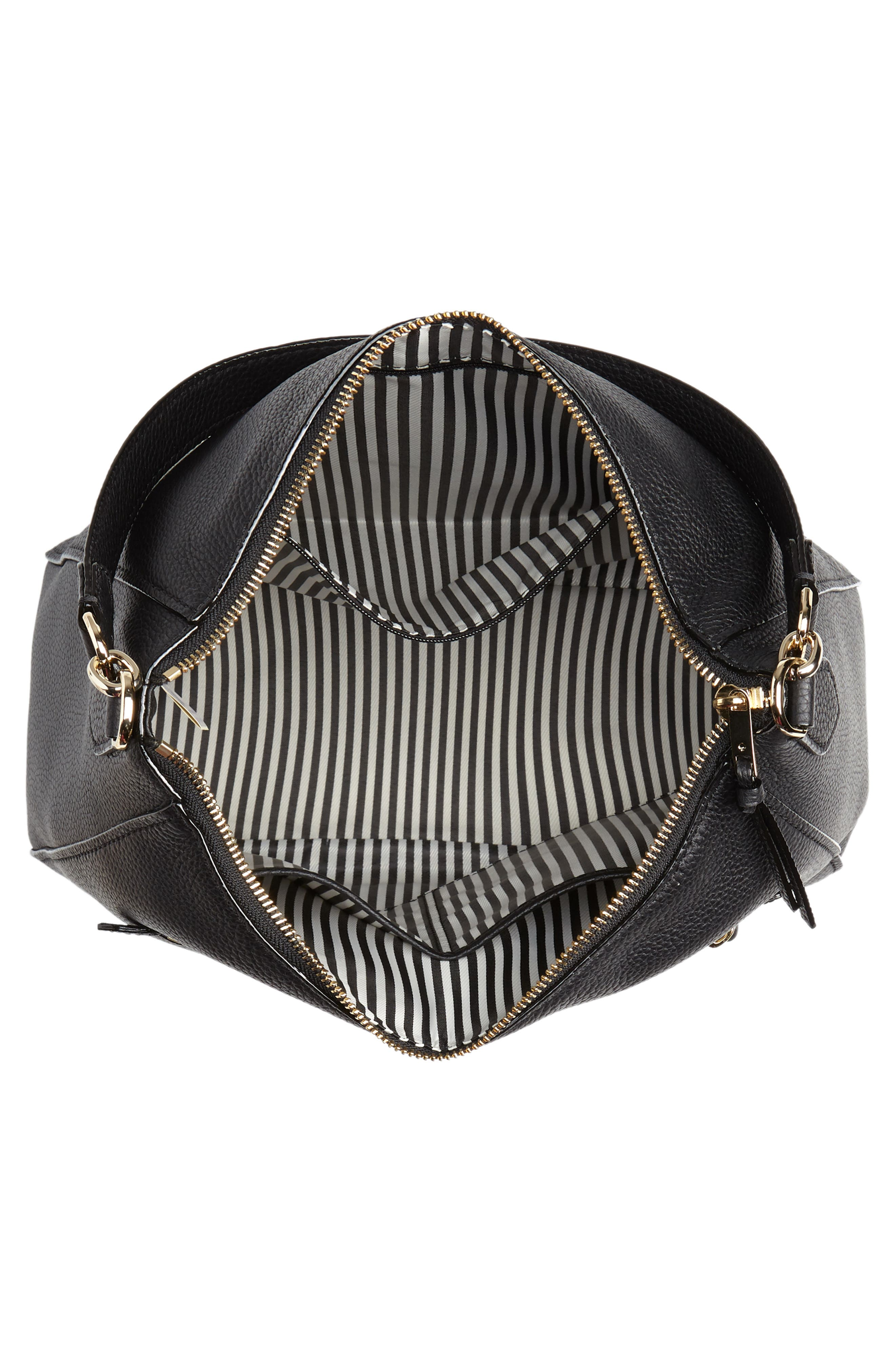jackson street - quincy leather hobo,                             Alternate thumbnail 4, color,                             BLACK