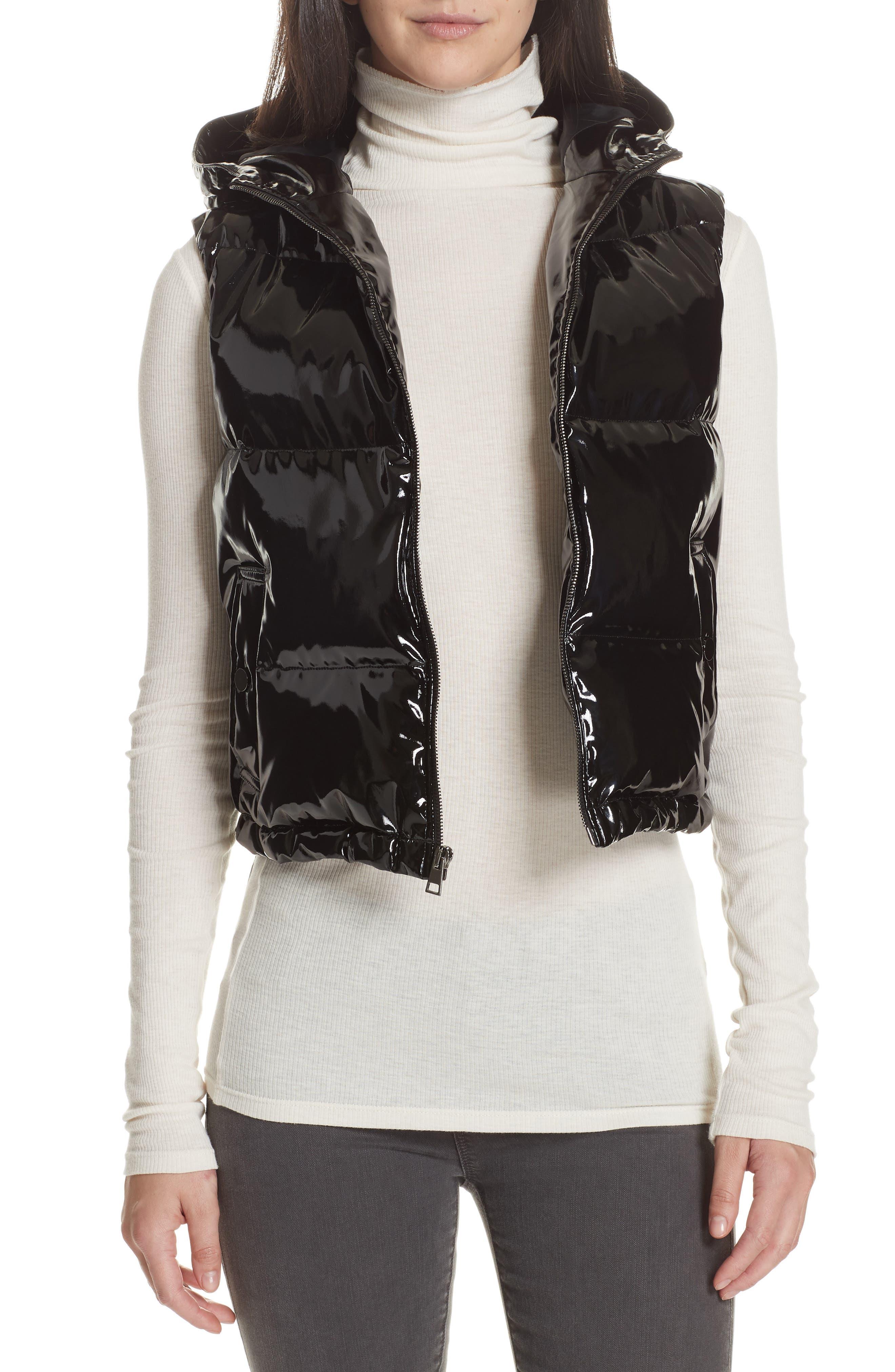 Shrunken Patent Puffer Vest,                         Main,                         color, BLACK