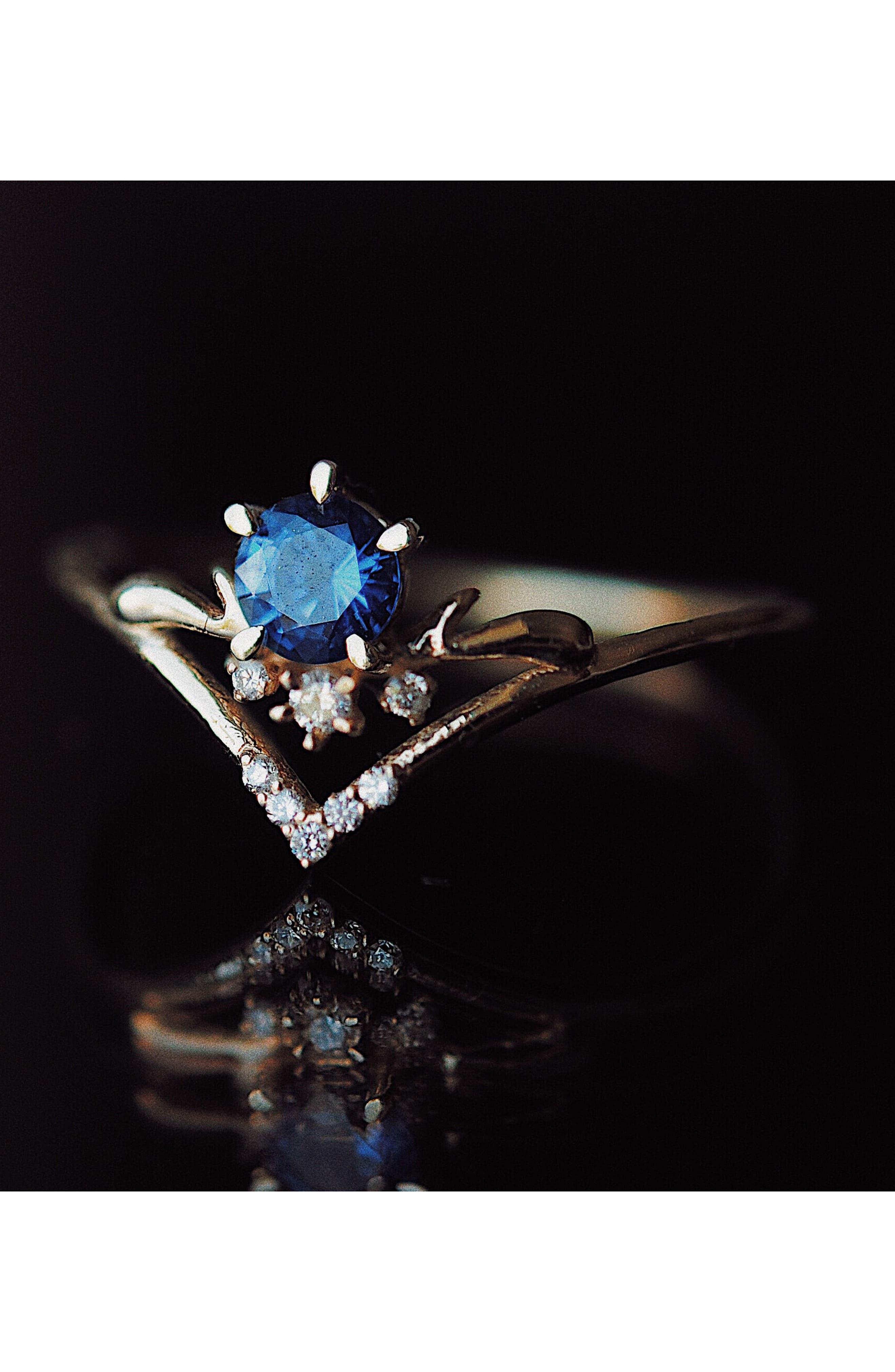 Moon Tear Sapphire & Diamond Ring,                             Alternate thumbnail 4, color,                             GOLD