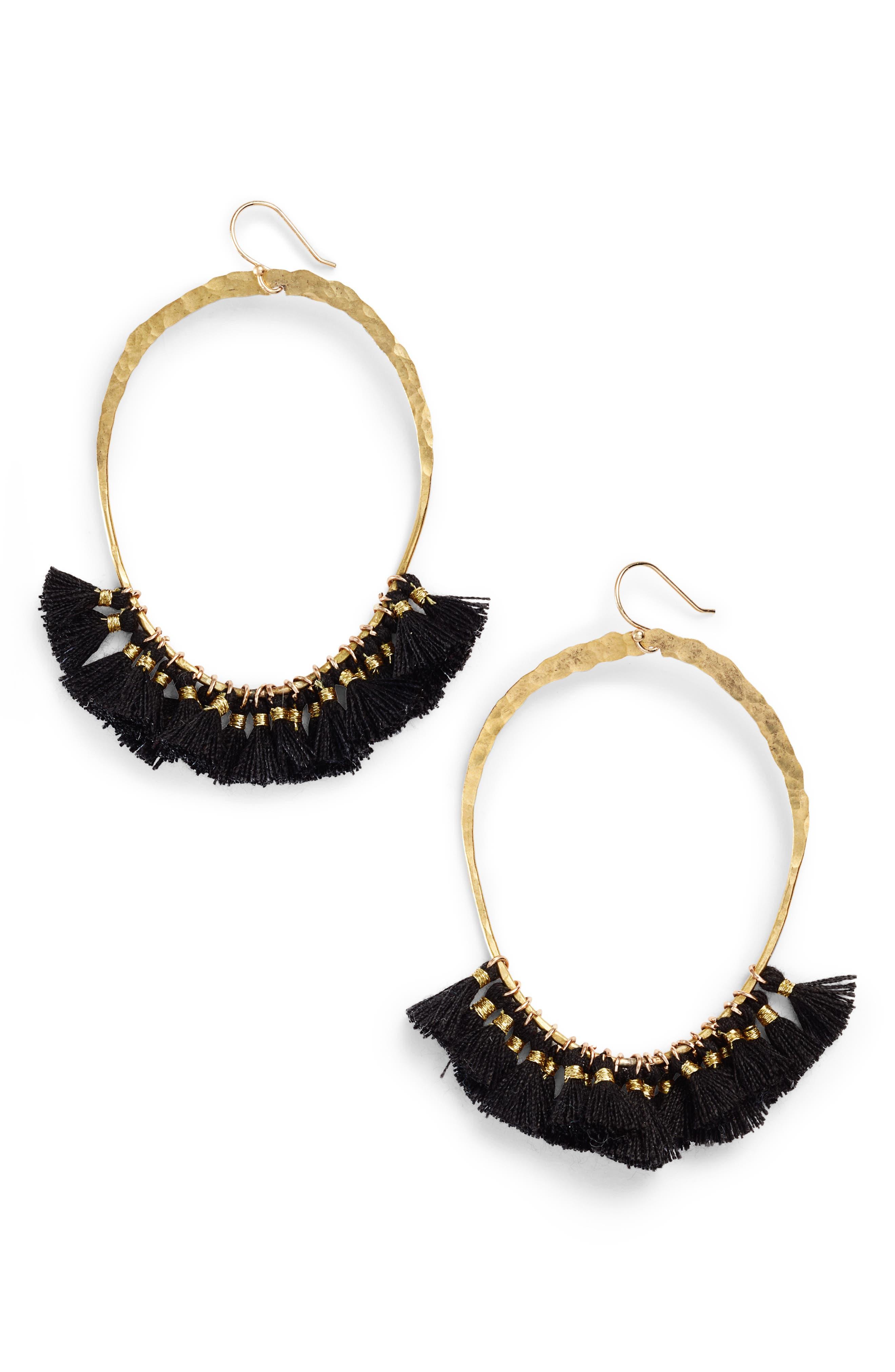 Tassel Hoop Earrings,                         Main,                         color, GOLD/ BLACK