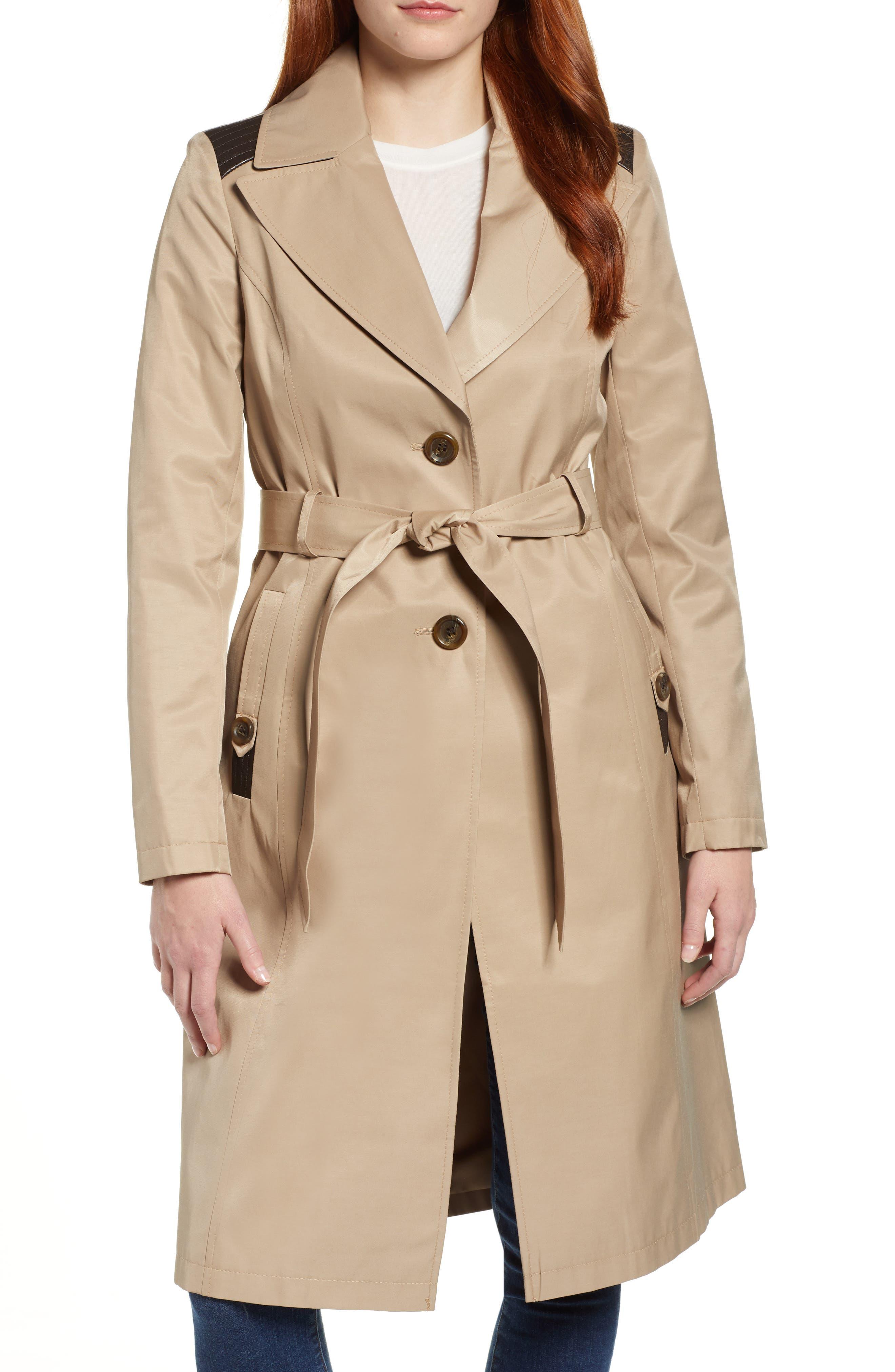1940s Coats & Jackets Fashion History Womens Via Spiga Faux Leather Trim Trench Coat Size X-Large - Beige $119.90 AT vintagedancer.com