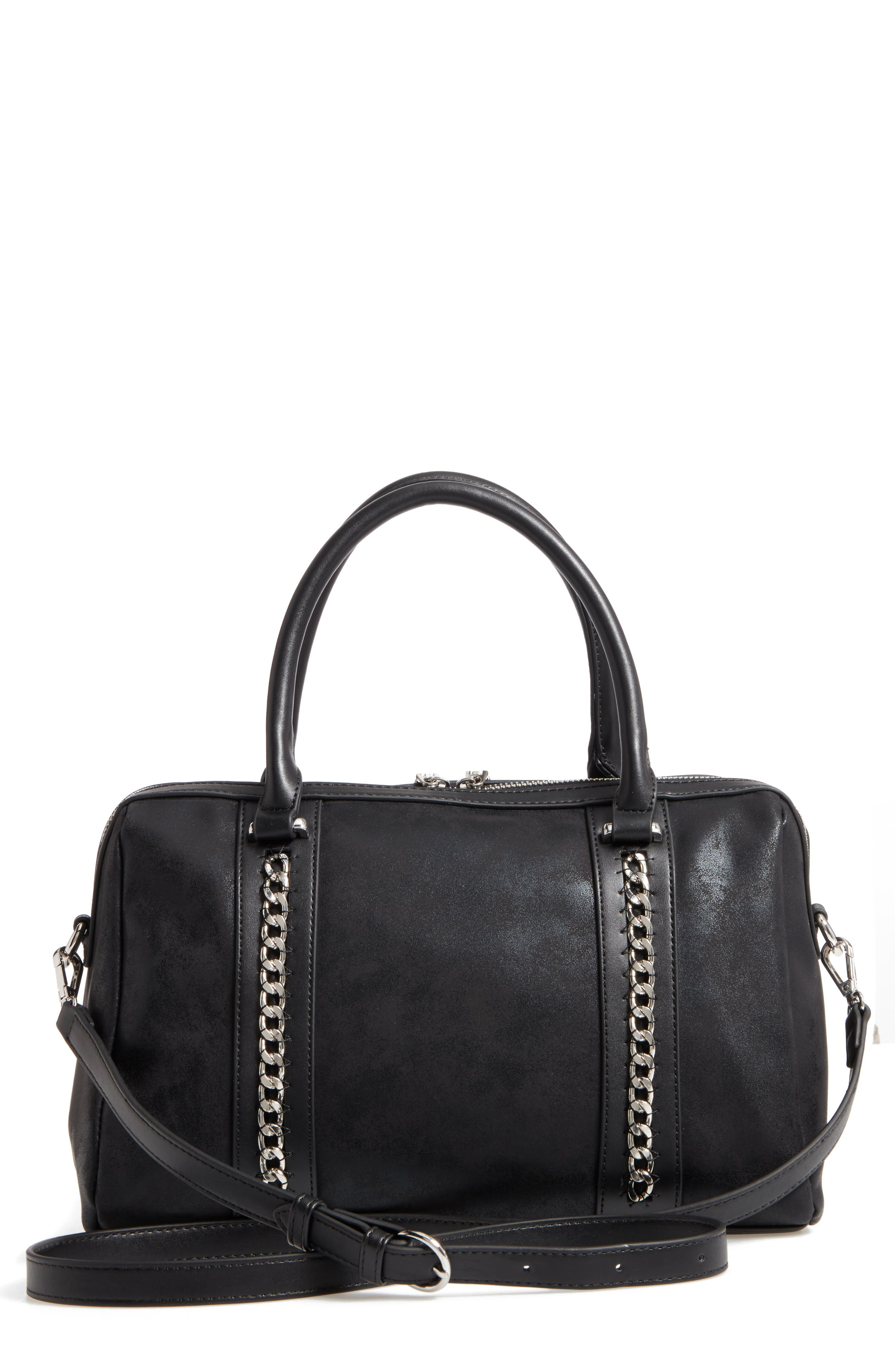 Karlie Faux Leather Satchel,                             Main thumbnail 1, color,                             001