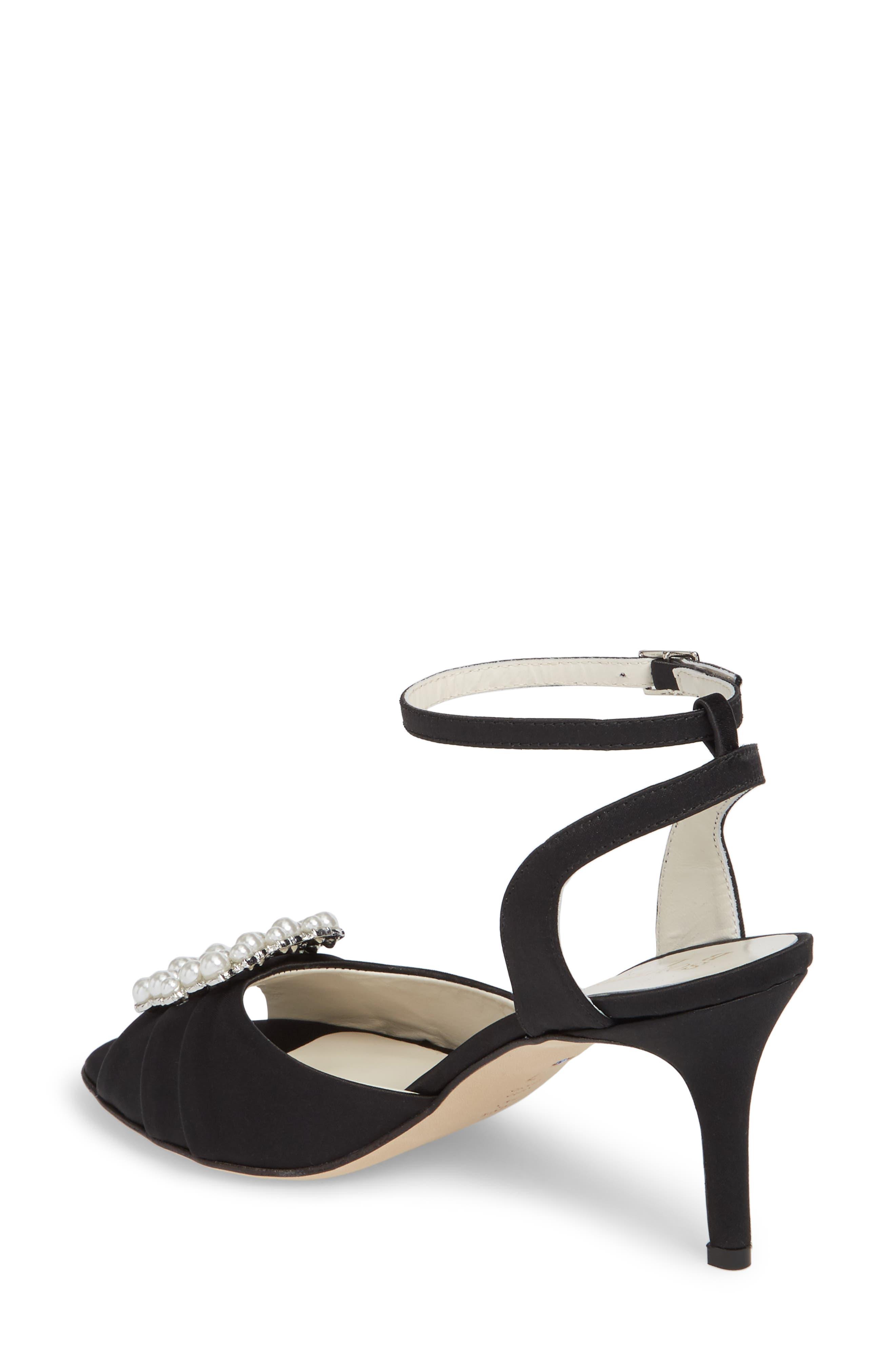 Godiva Imitation Pearl Buckle Sandal,                             Alternate thumbnail 2, color,                             BLACK SATIN