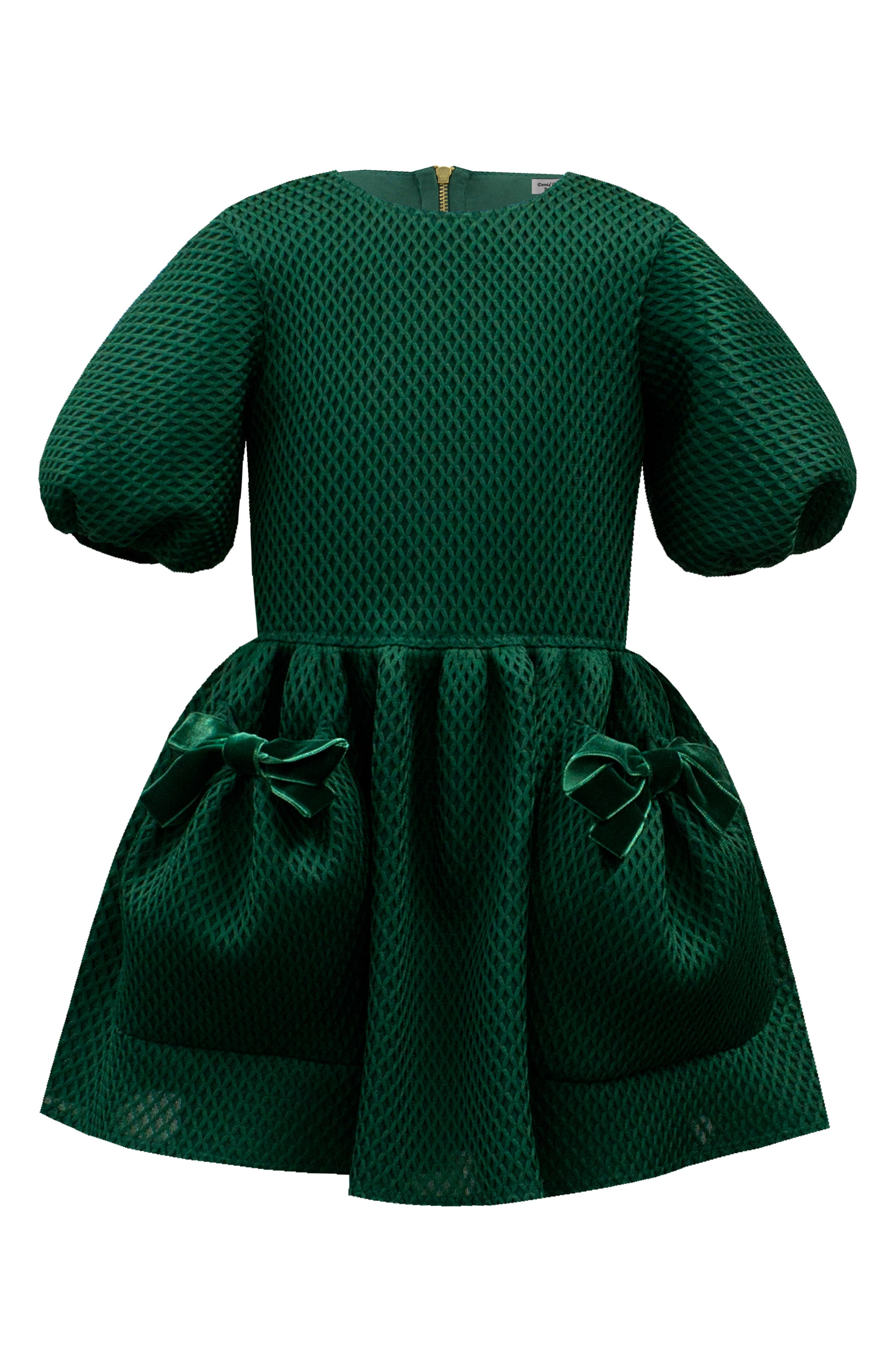Vintage Style Children's Clothing: Girls, Boys, Baby, Toddler Girls David Charles Techno Balloon Sleeve Dress $177.00 AT vintagedancer.com