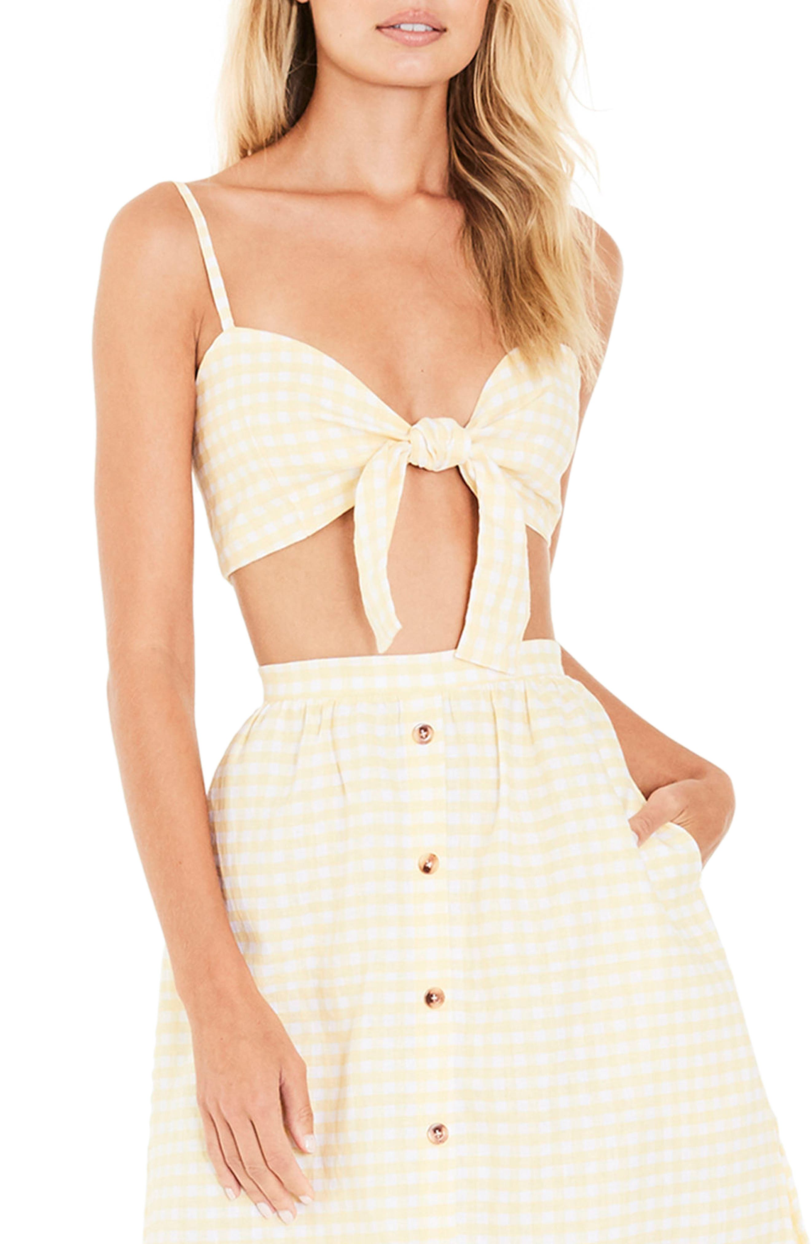 Garnier Gingham Knot Front Top,                             Main thumbnail 1, color,                             700