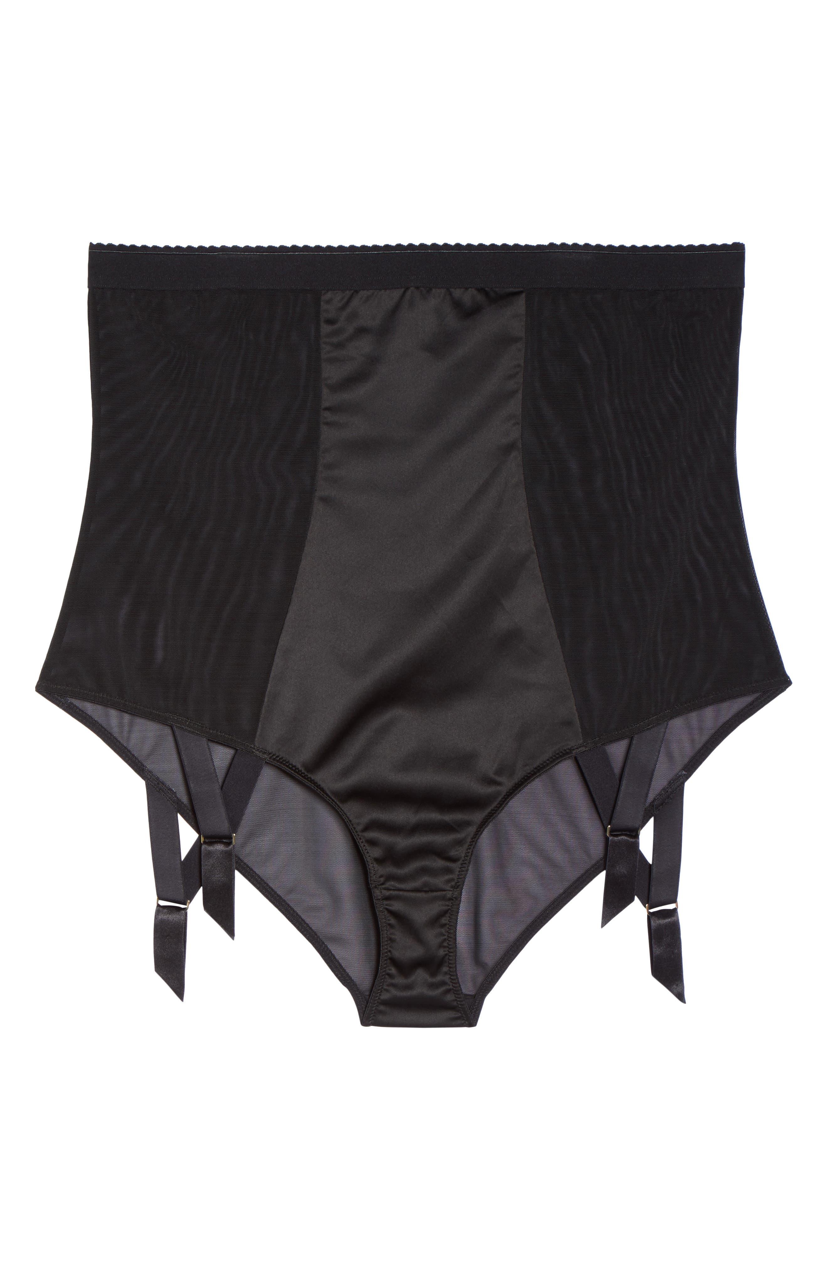 Candace Noir High Waist Panties with Garter Attachments,                             Alternate thumbnail 5, color,                             001