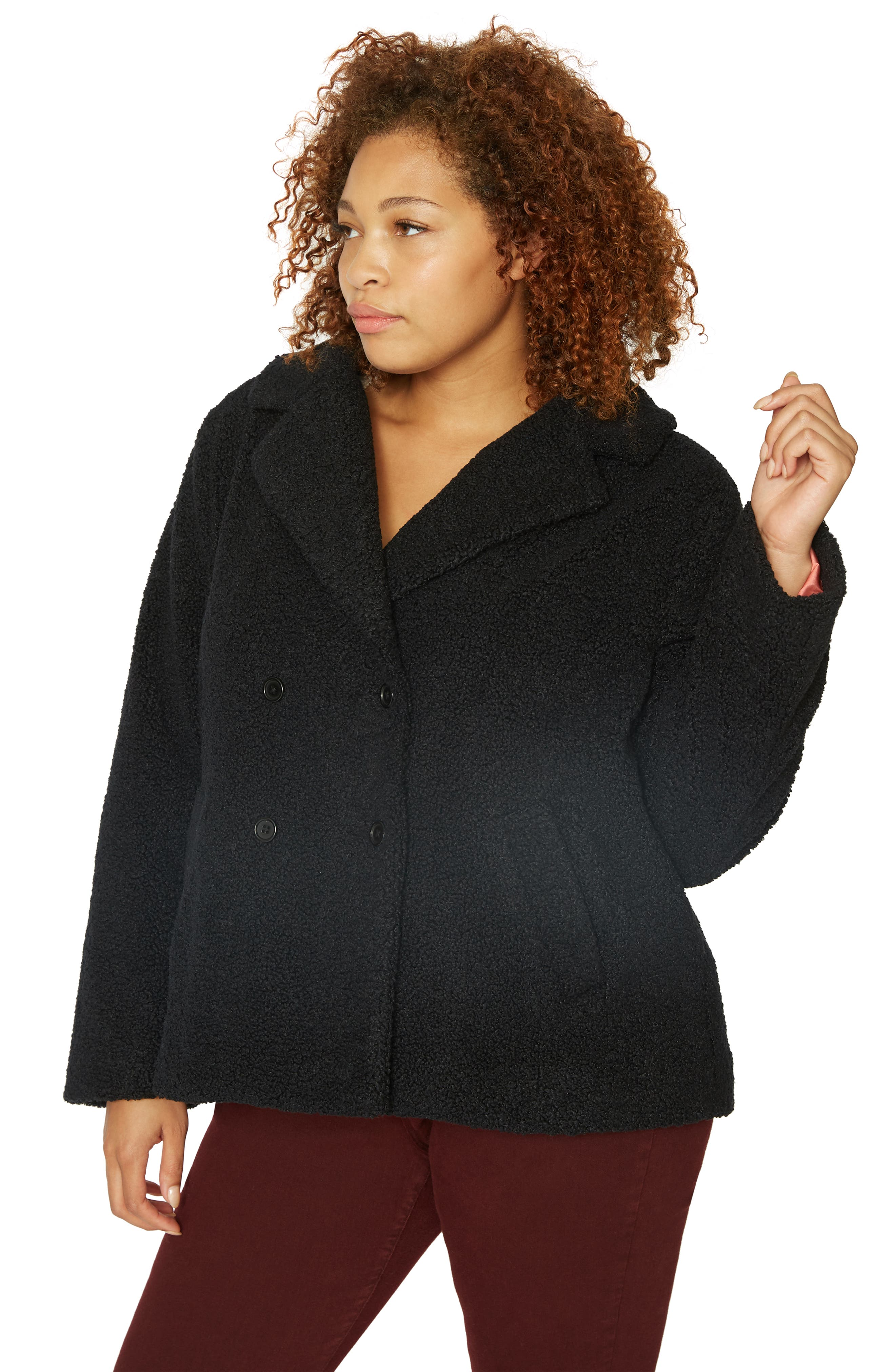 Free Spirit Faux Shearling Coat,                             Alternate thumbnail 3, color,                             BLACK