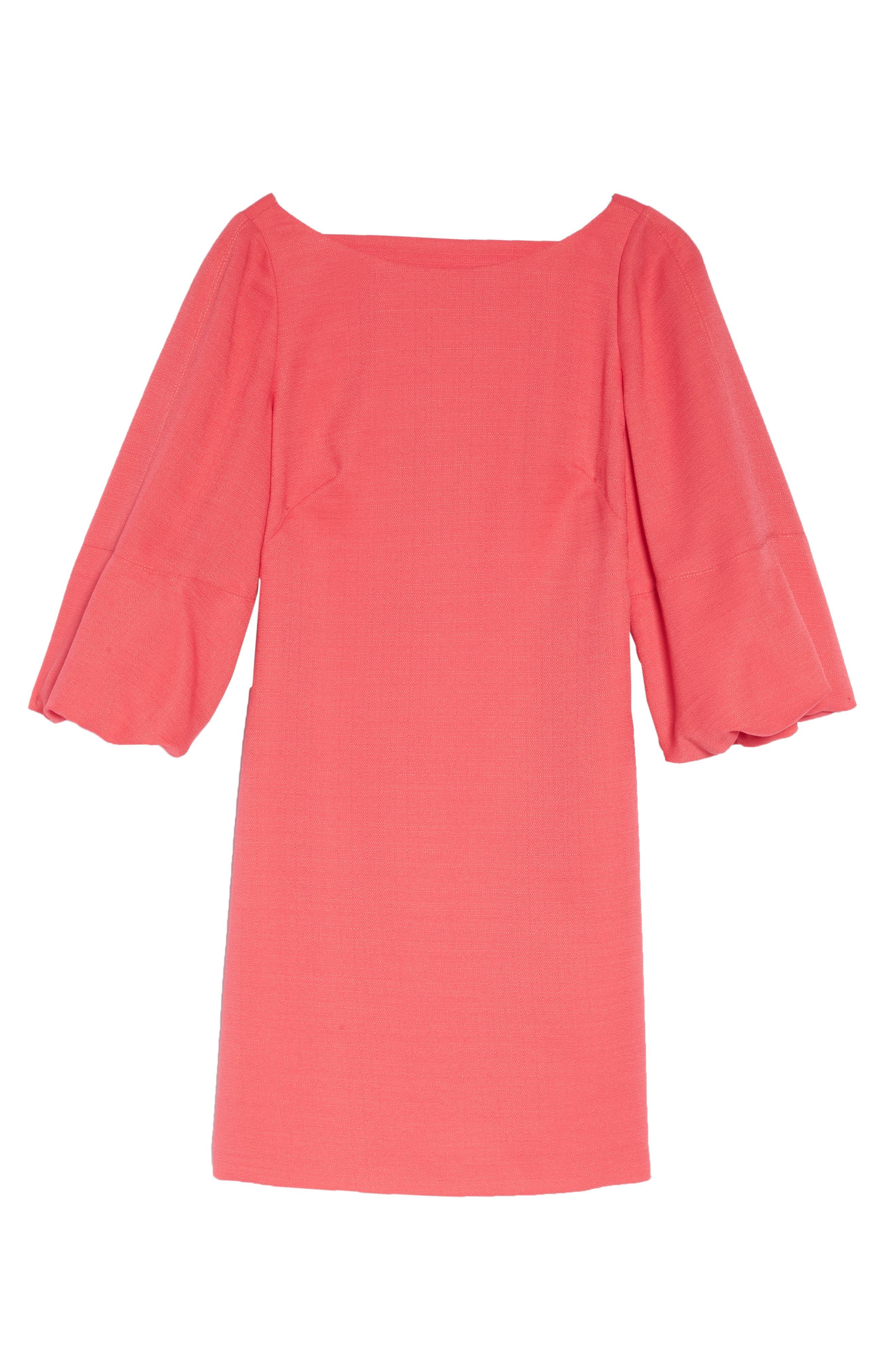 Puff Sleeve Shift Dress,                             Alternate thumbnail 13, color,
