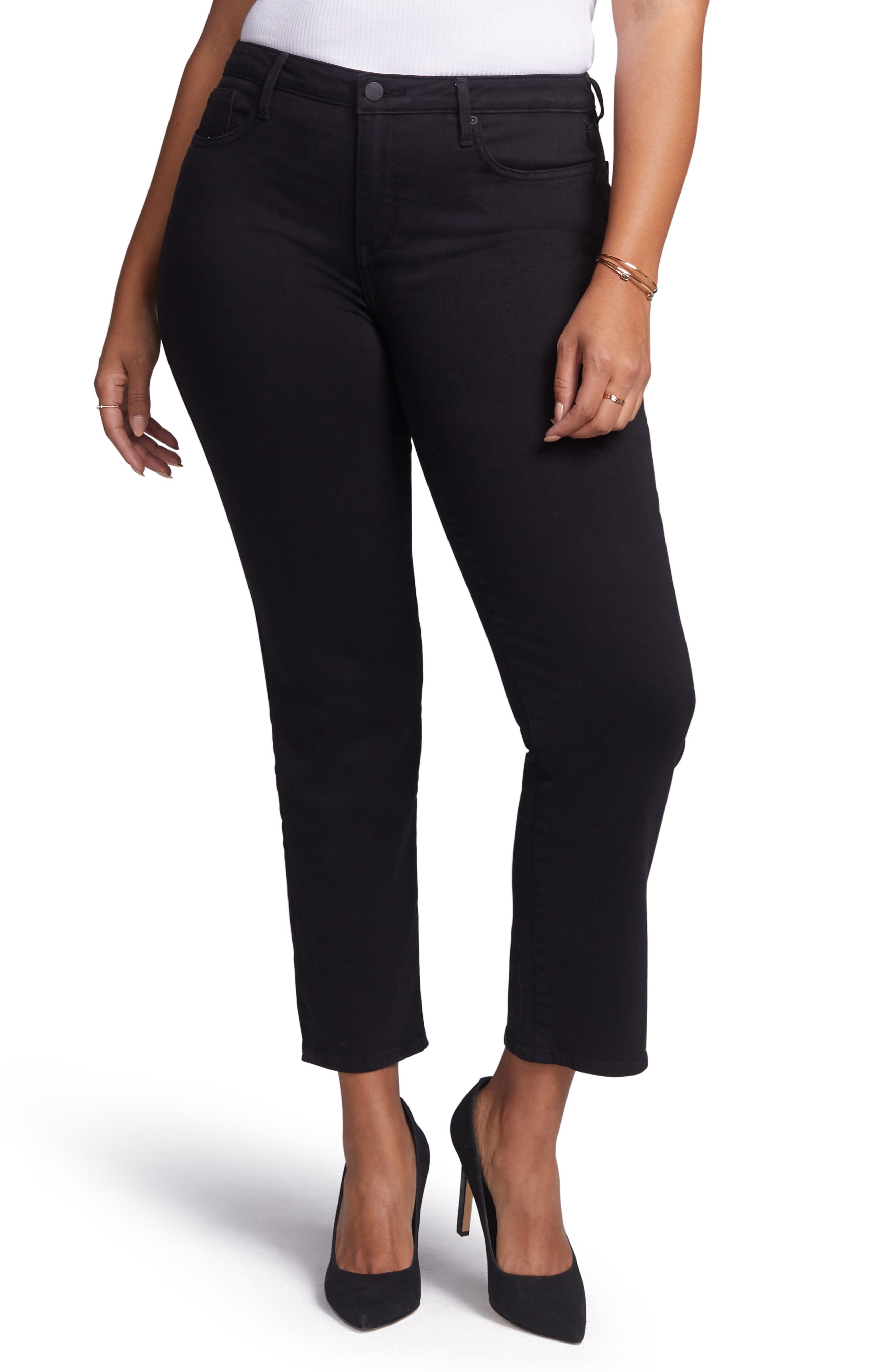 CURVES 360 BY NYDJ Slim Straight Leg Ankle Jeans, Main, color, BLACK