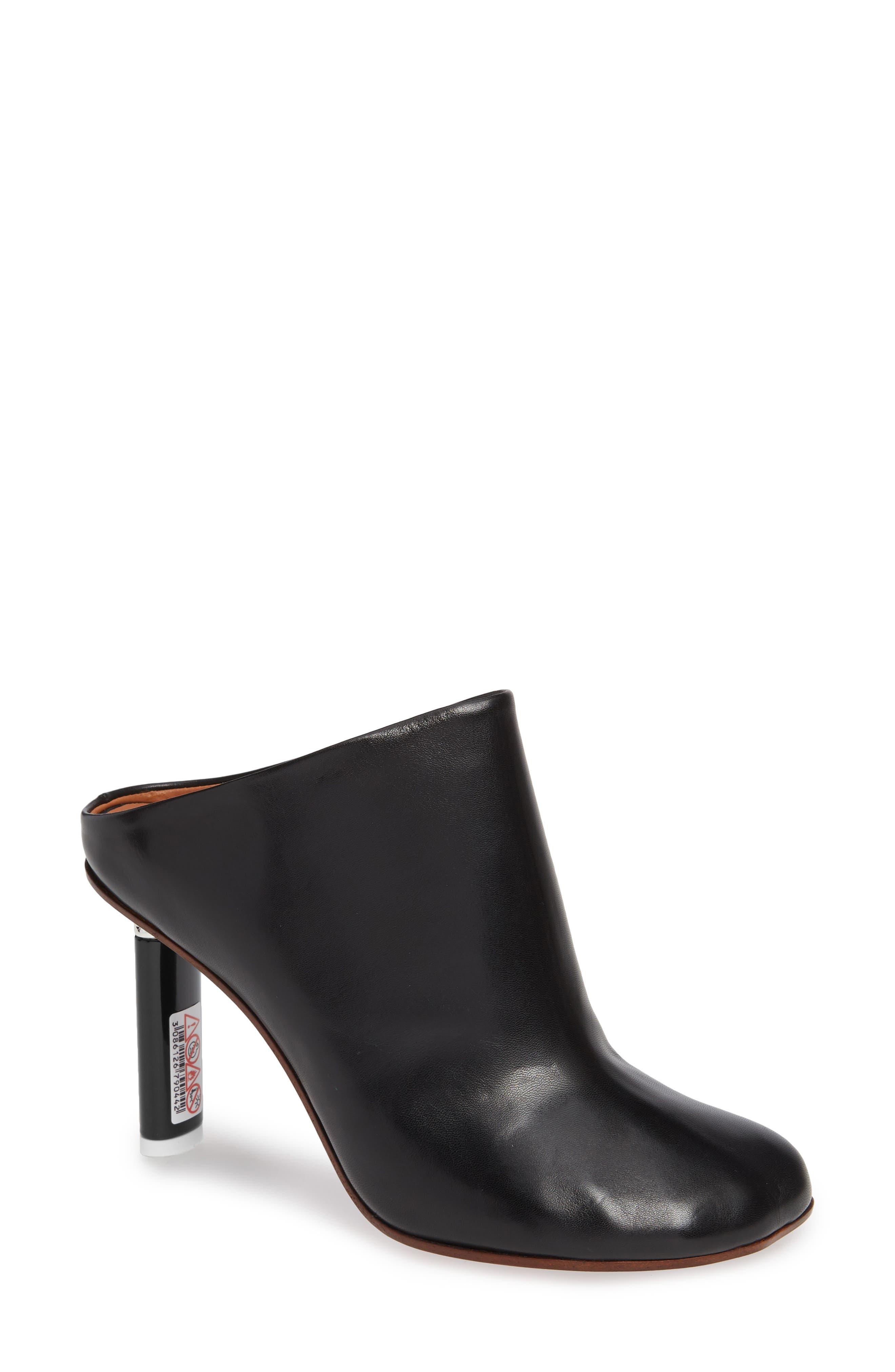 Lighter Heel Mule,                             Main thumbnail 1, color,                             BLACK/ BLACK HEEL