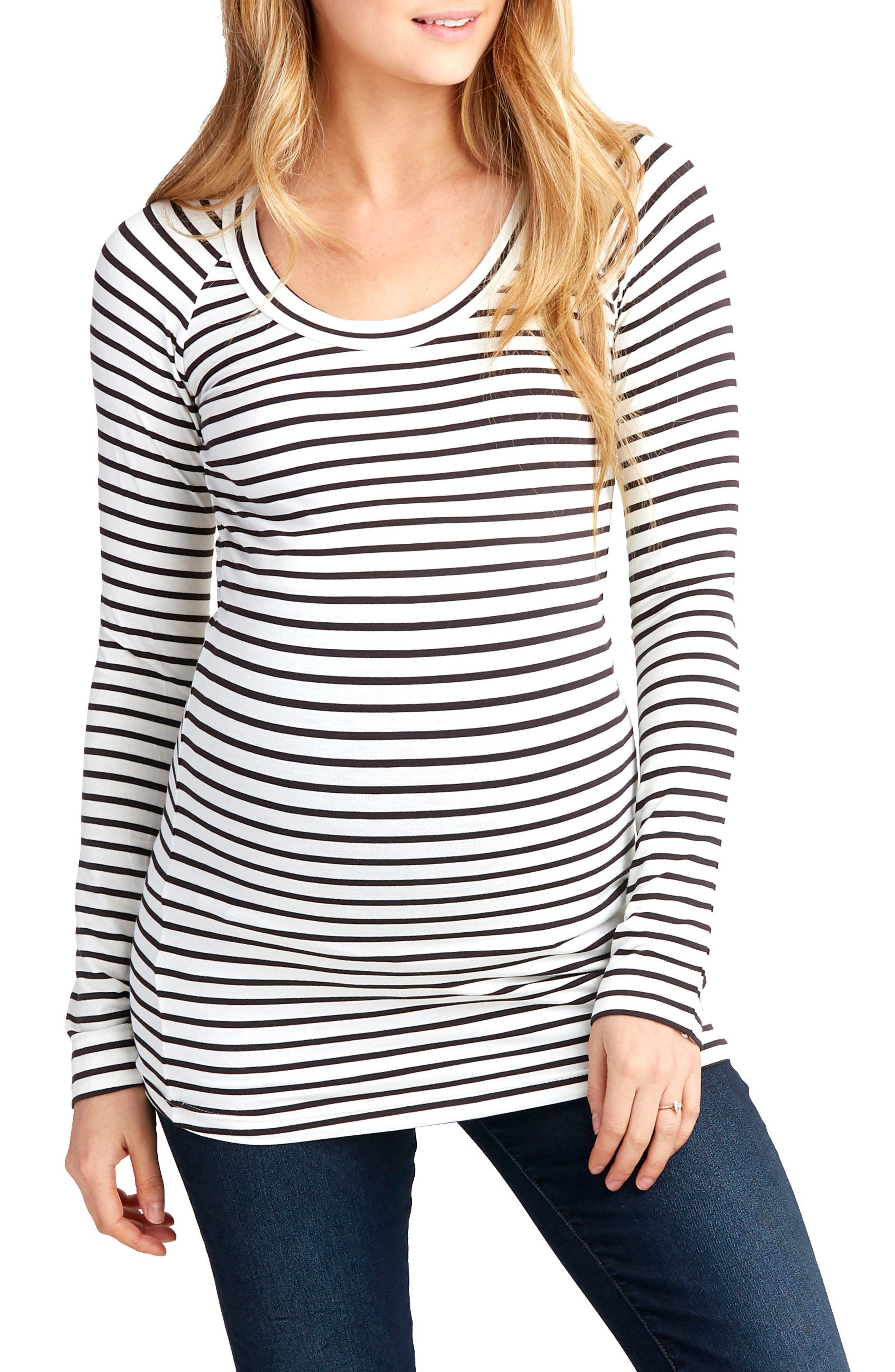 Phoebe Maternity Top,                         Main,                         color, BLACK AND WHITE STRIPE