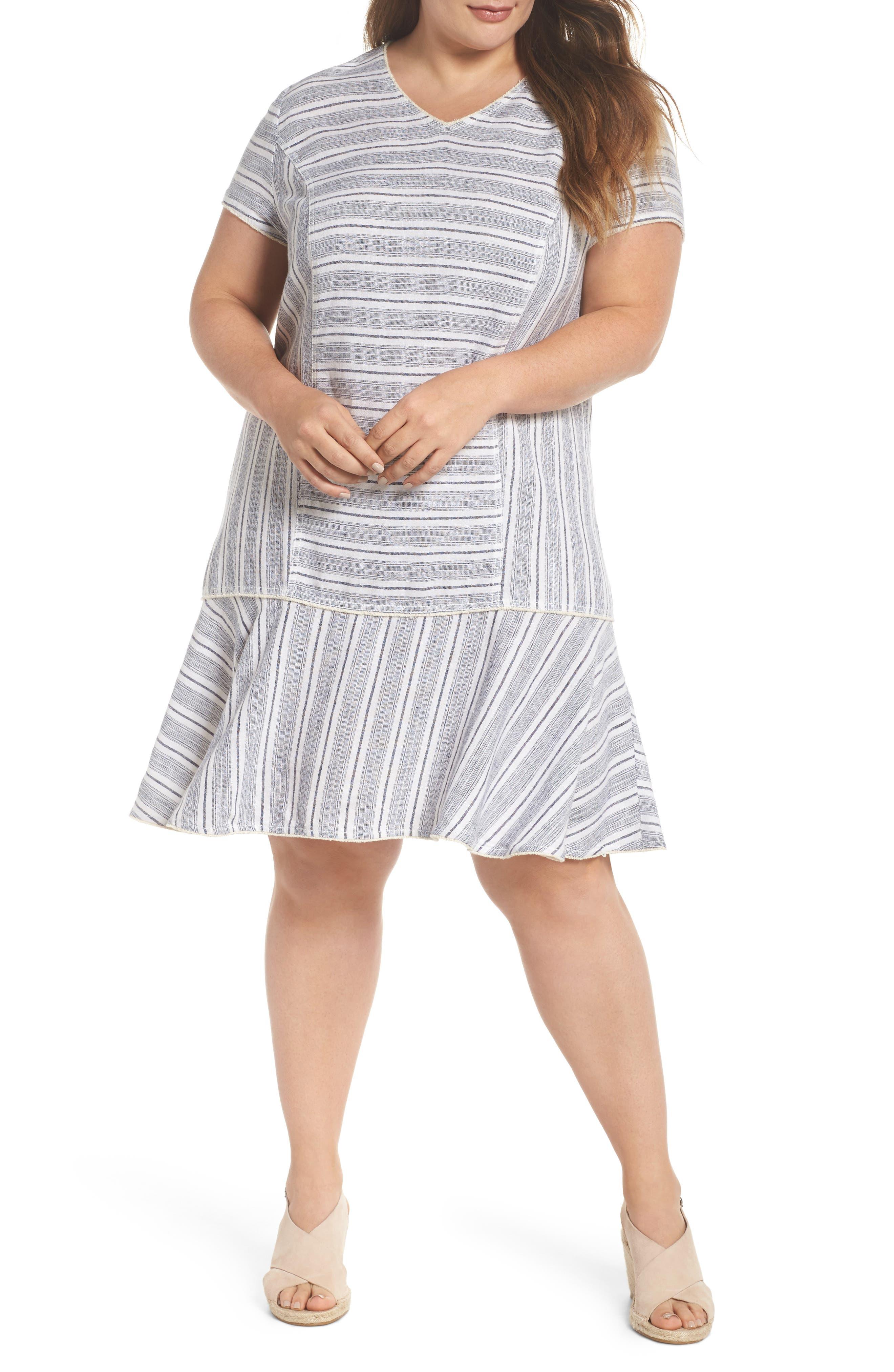 Raw Edge Stripe Linen Blend Dress,                         Main,                         color, 900