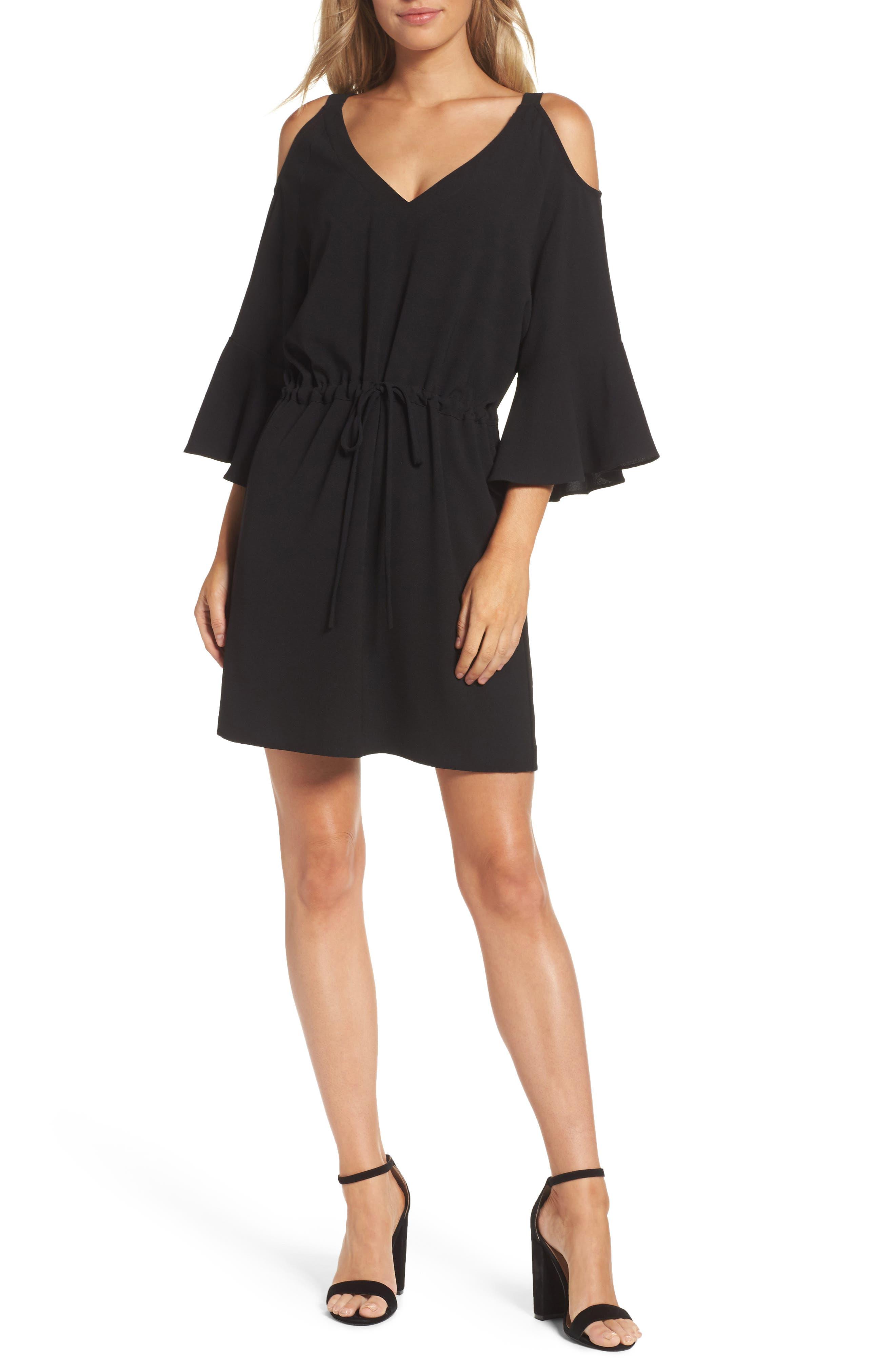 Sensa Cold Shoulder Minidress,                         Main,                         color, 001
