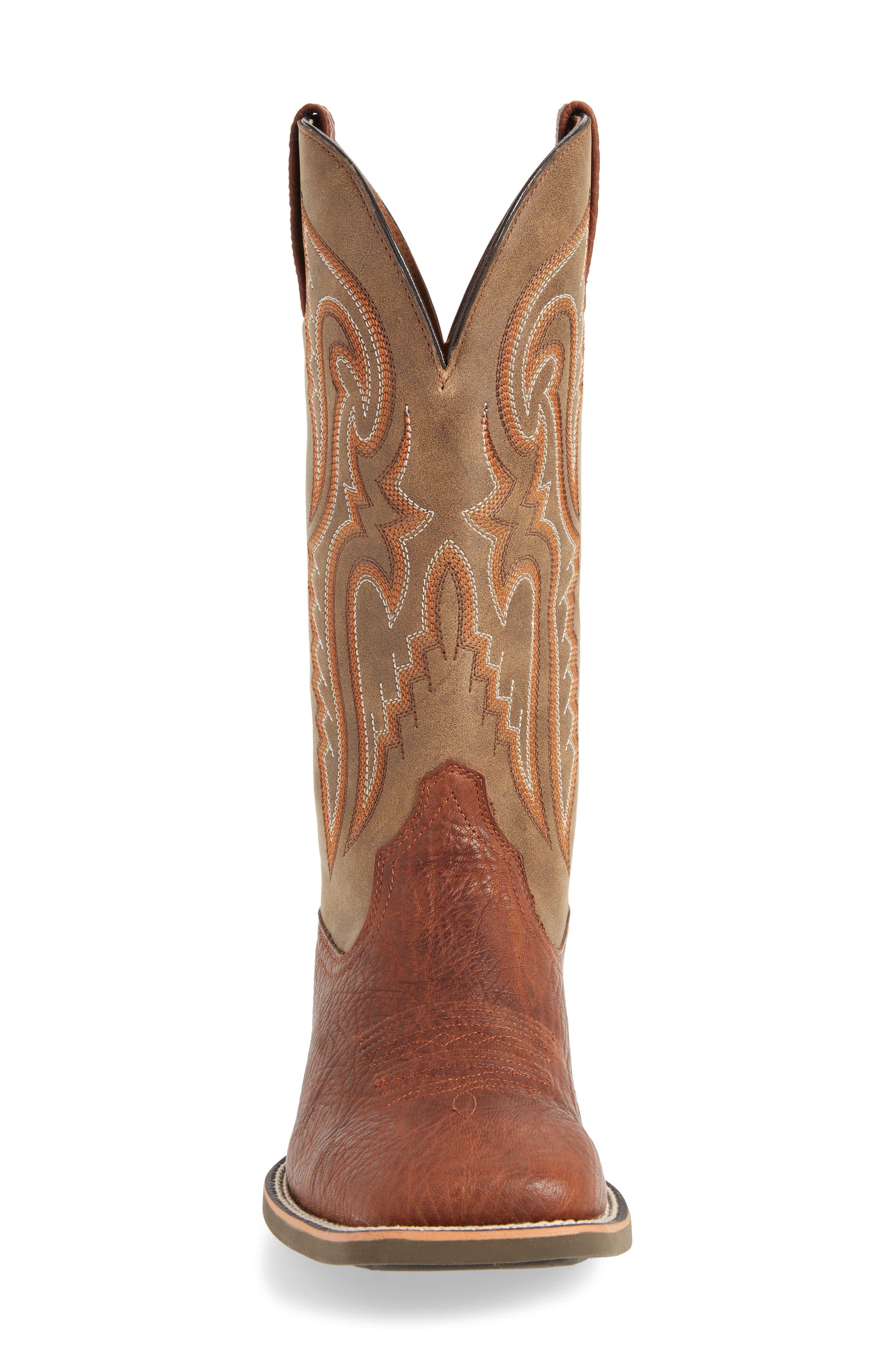 Heritage Latigo Square Toe Cowboy Boot,                             Alternate thumbnail 4, color,                             COGNAC/ BROWN BOMBER LEATHER