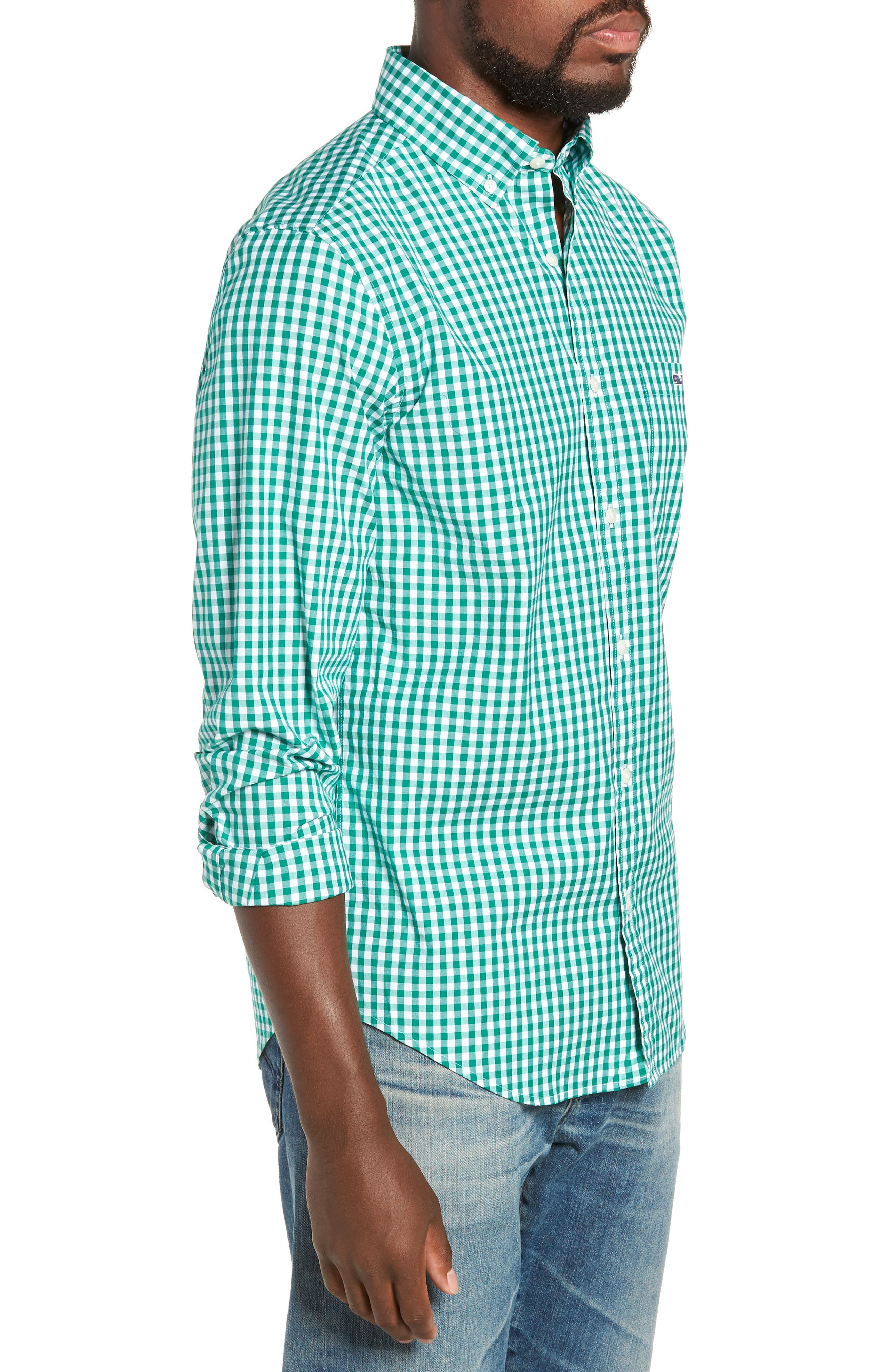 Carleton Classic Fit Gingham Sport Shirt,                             Alternate thumbnail 4, color,                             GREEN MEADOW