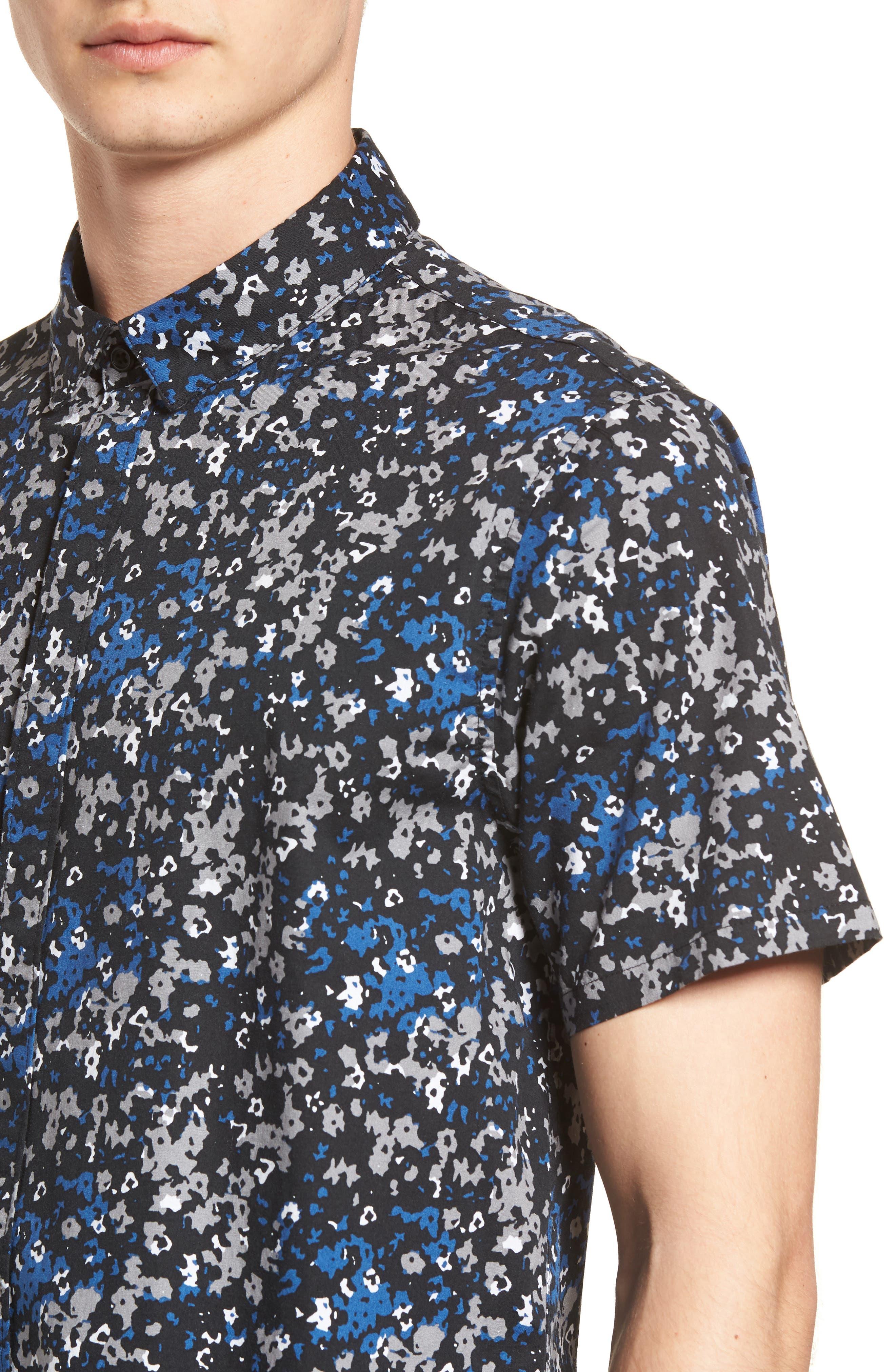 Fowler Woven Shirt,                             Alternate thumbnail 4, color,                             BLACK MICRO FLORAL