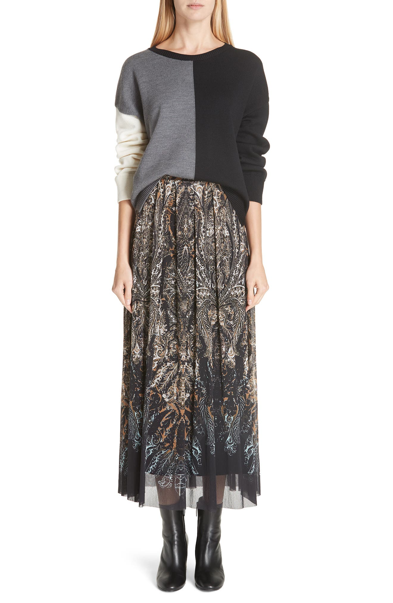 Paisley Tulle Midi Skirt,                             Alternate thumbnail 7, color,                             NERO