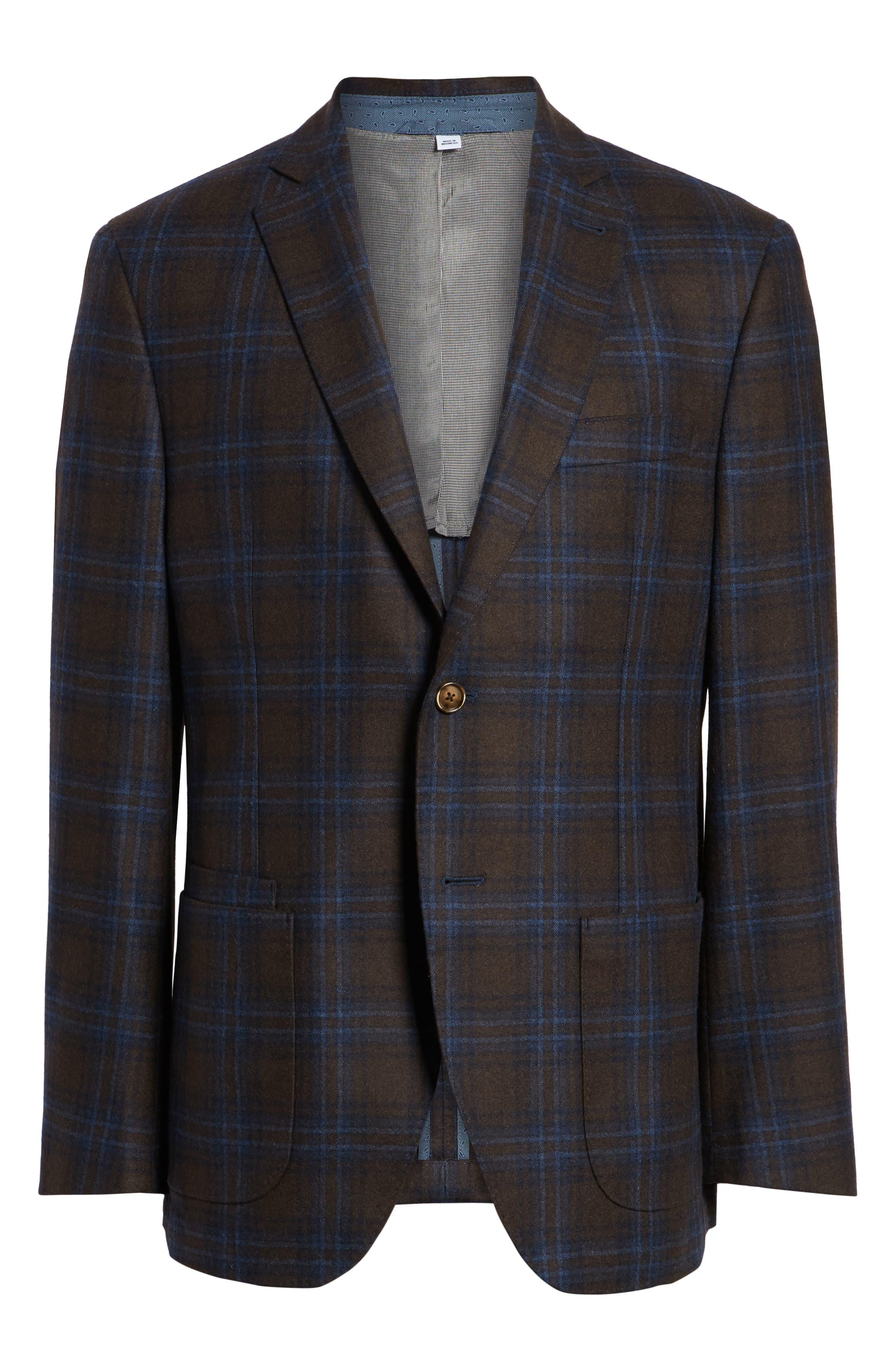 Trim Fit Plaid Wool Blend Sport Coat,                             Alternate thumbnail 5, color,                             230