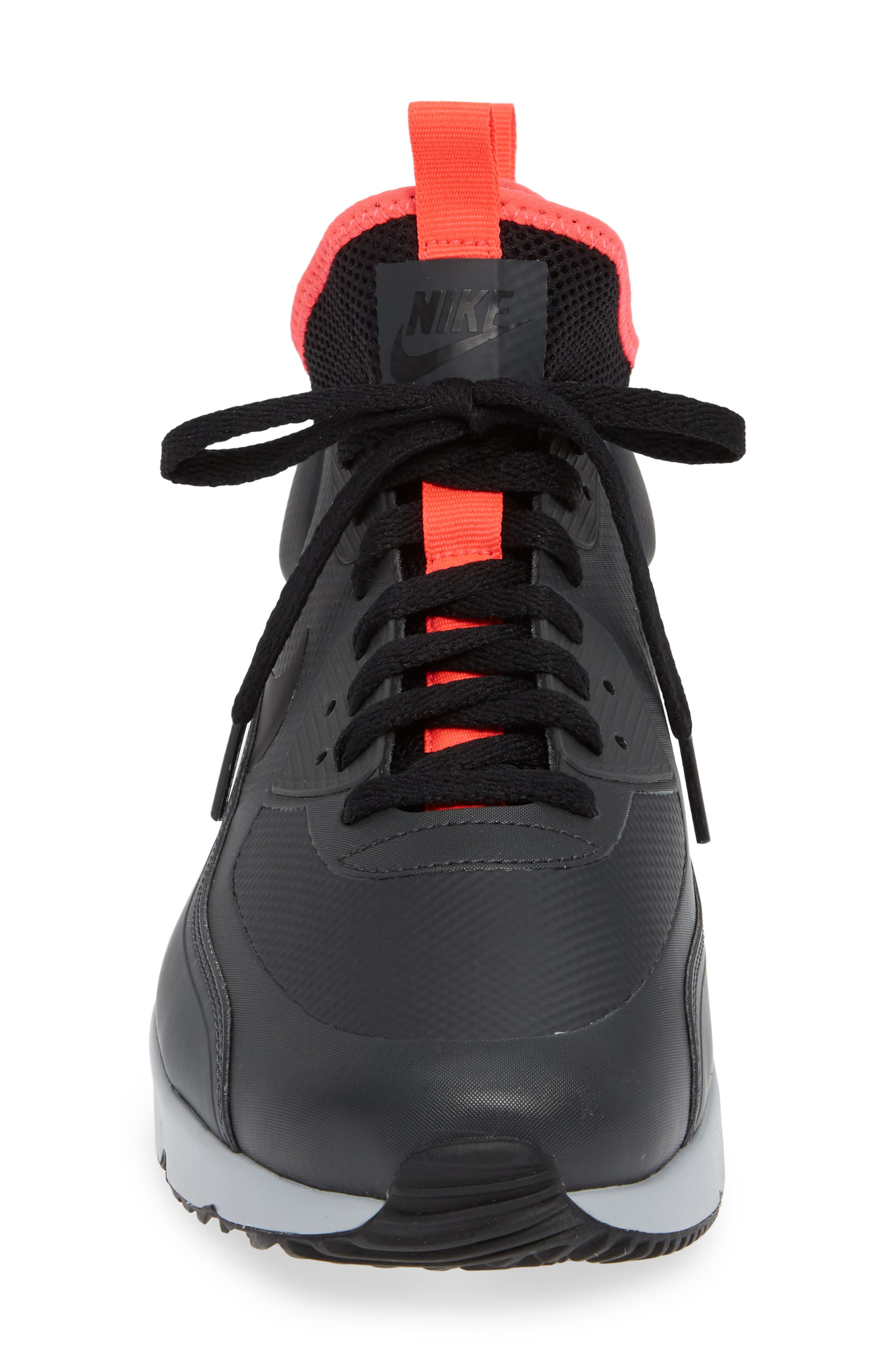 Air Max 90 Ultra Mid Winter Sneaker,                             Alternate thumbnail 4, color,                             ANTHRACITE/ BLACK/ SOLAR RED