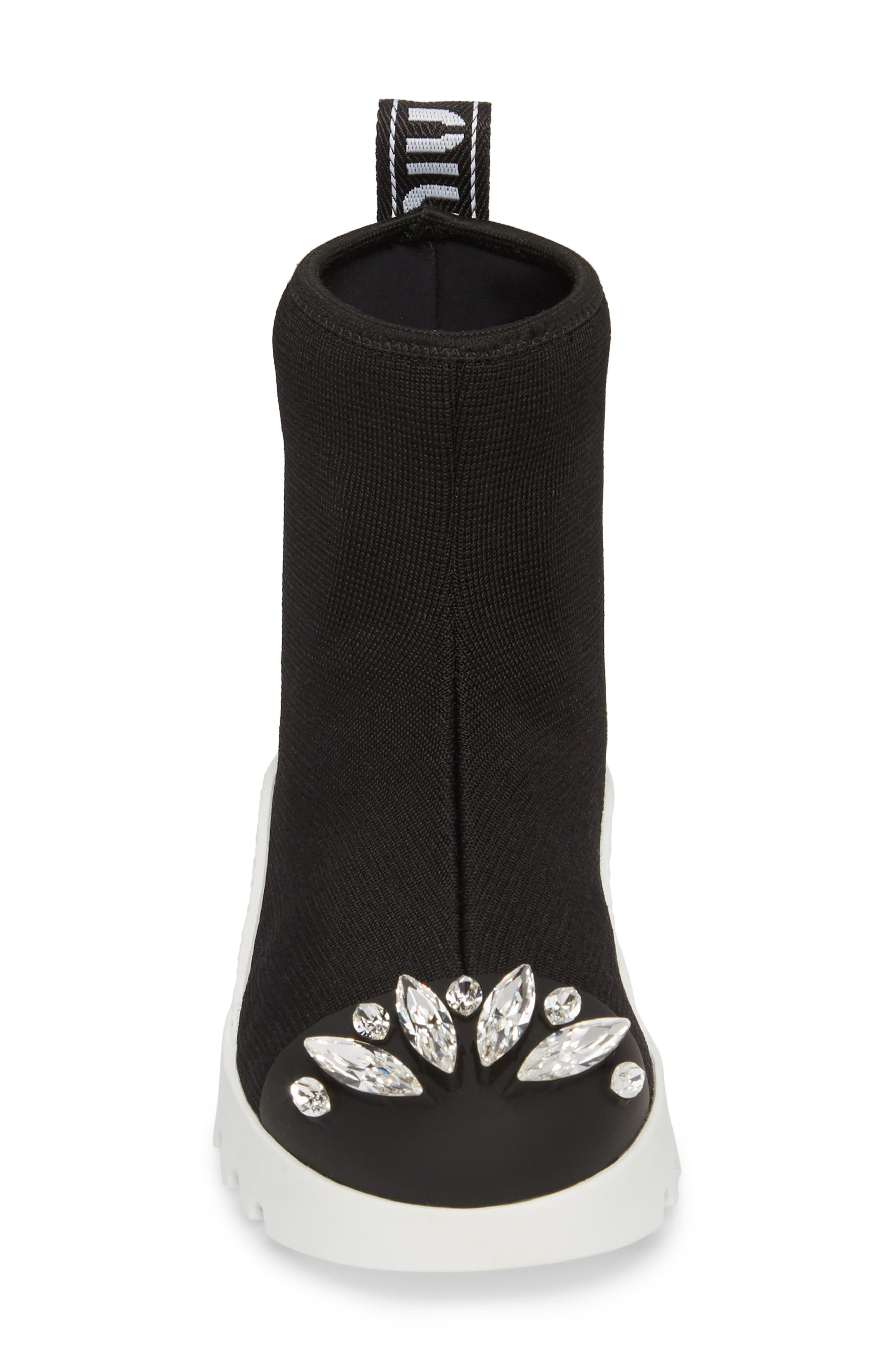 Embellished Sock Boot,                             Alternate thumbnail 4, color,                             BLACK
