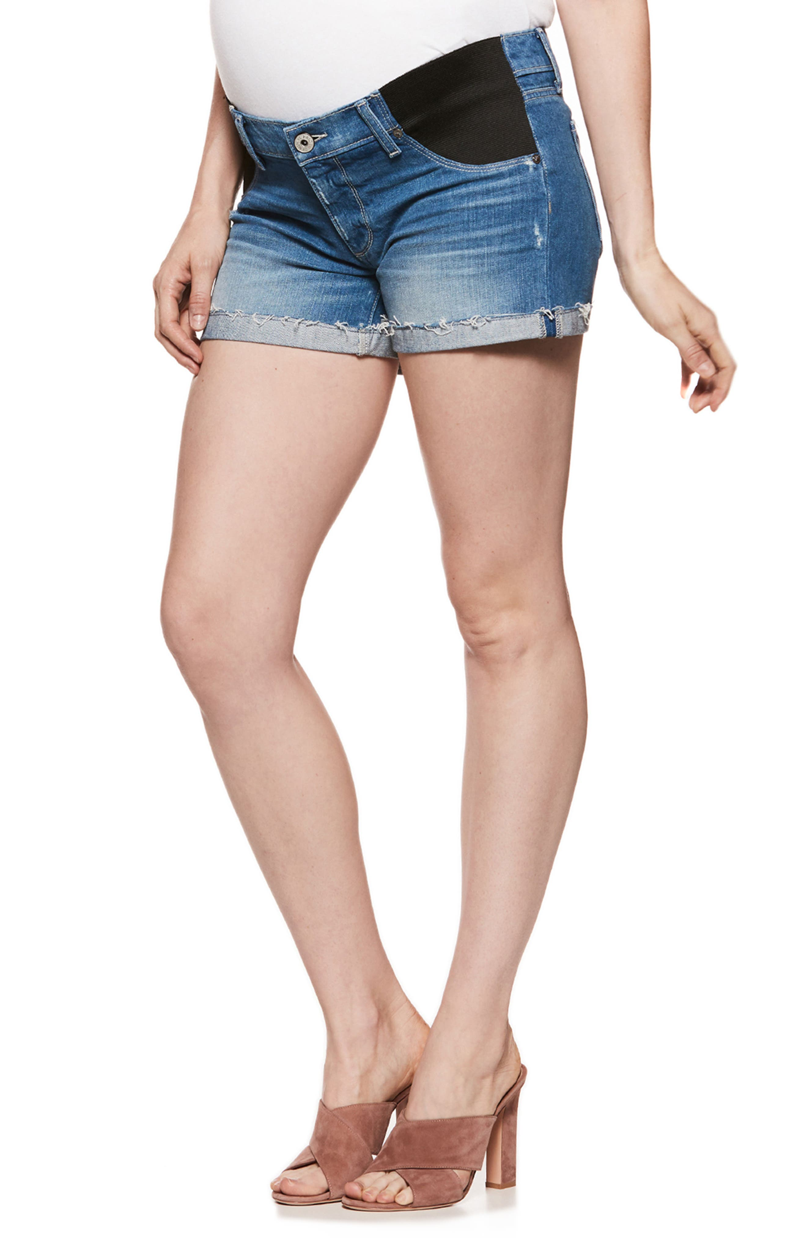 Jimmy Jimmy Raw Cuff Denim Maternity Shorts,                             Main thumbnail 1, color,                             FINNICK DESTRUCTED