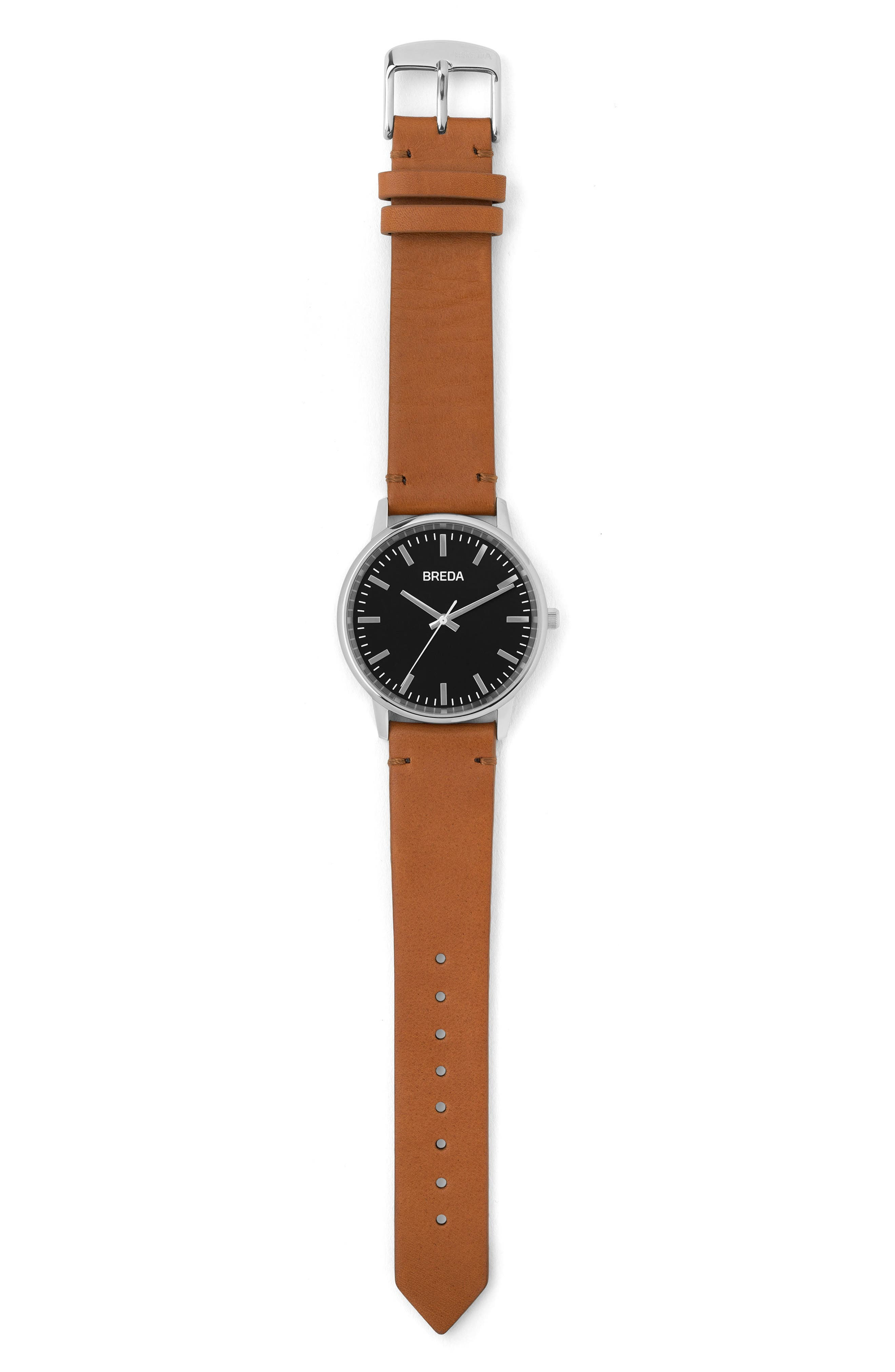 Zapf Leather Strap Watch, 39mm,                             Alternate thumbnail 2, color,                             BROWN/ BLACK/ SILVER