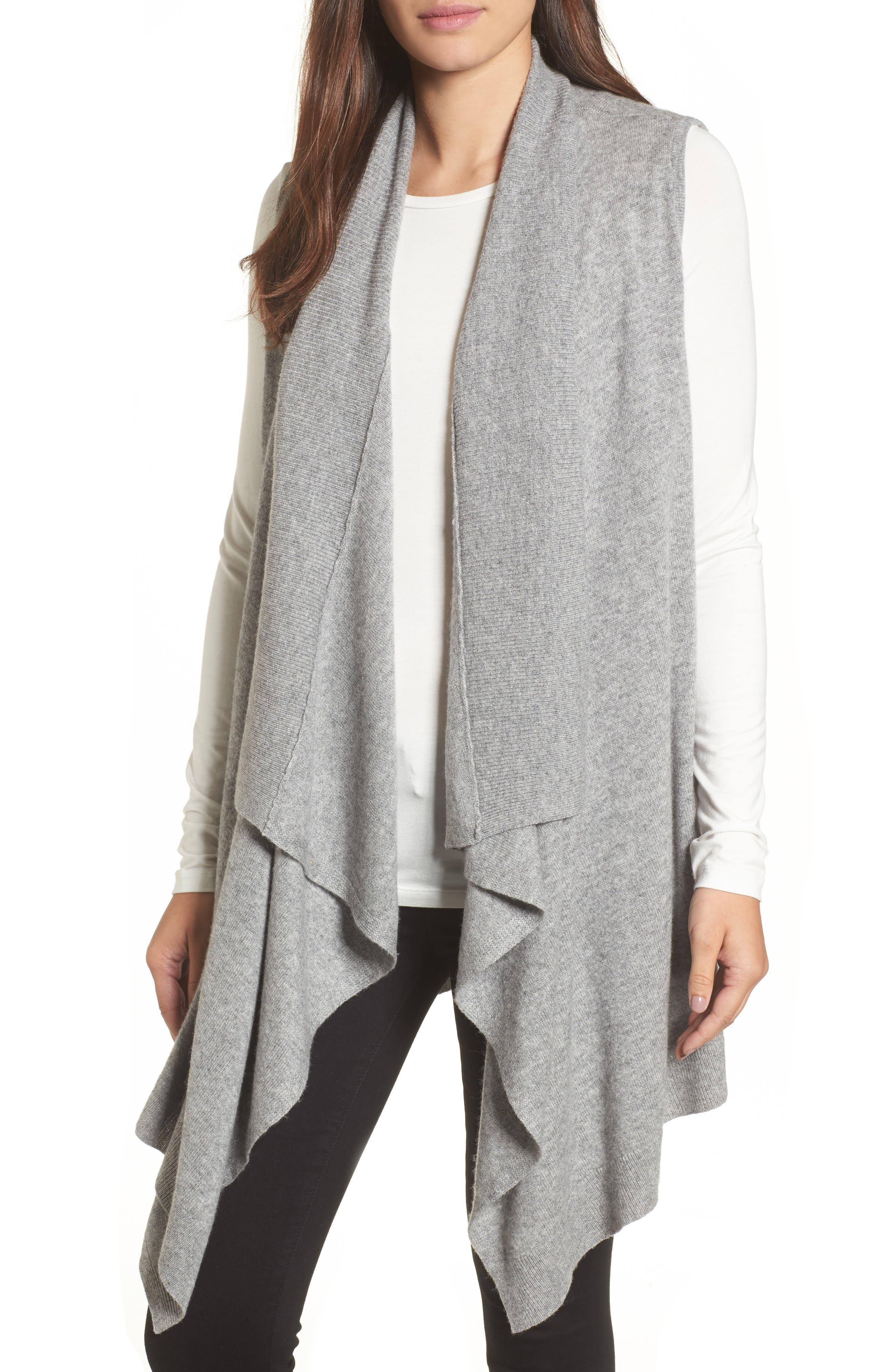 Wool & Cashmere Drape Front Sweater Vest,                             Main thumbnail 1, color,