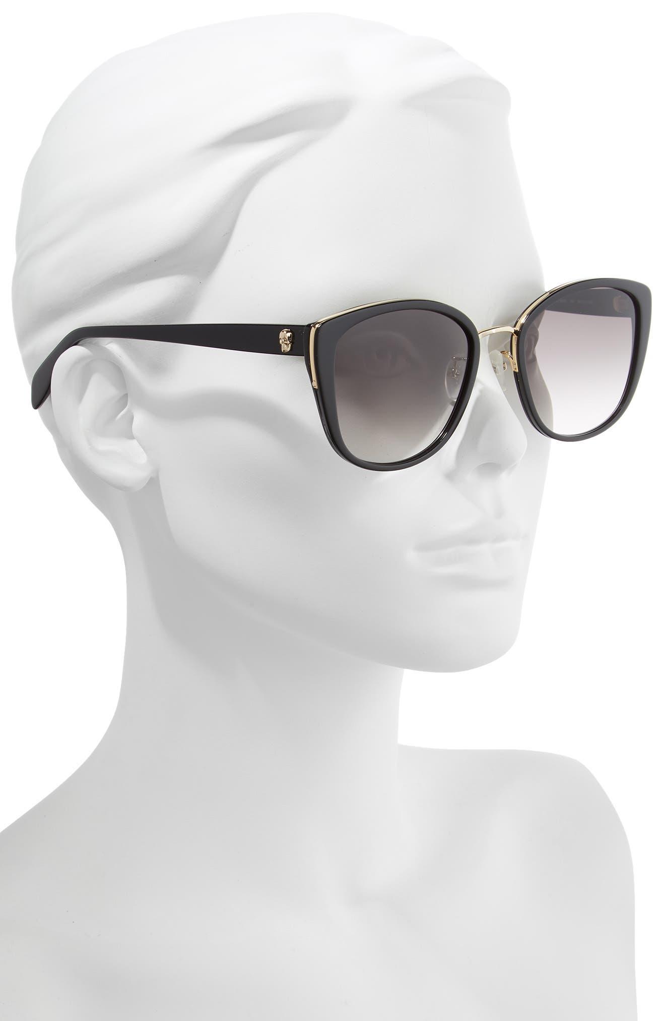 ALEXANDER MCQUEEN,                             56mm Gradient Round Sunglasses,                             Alternate thumbnail 2, color,                             BLACK/ GOLD