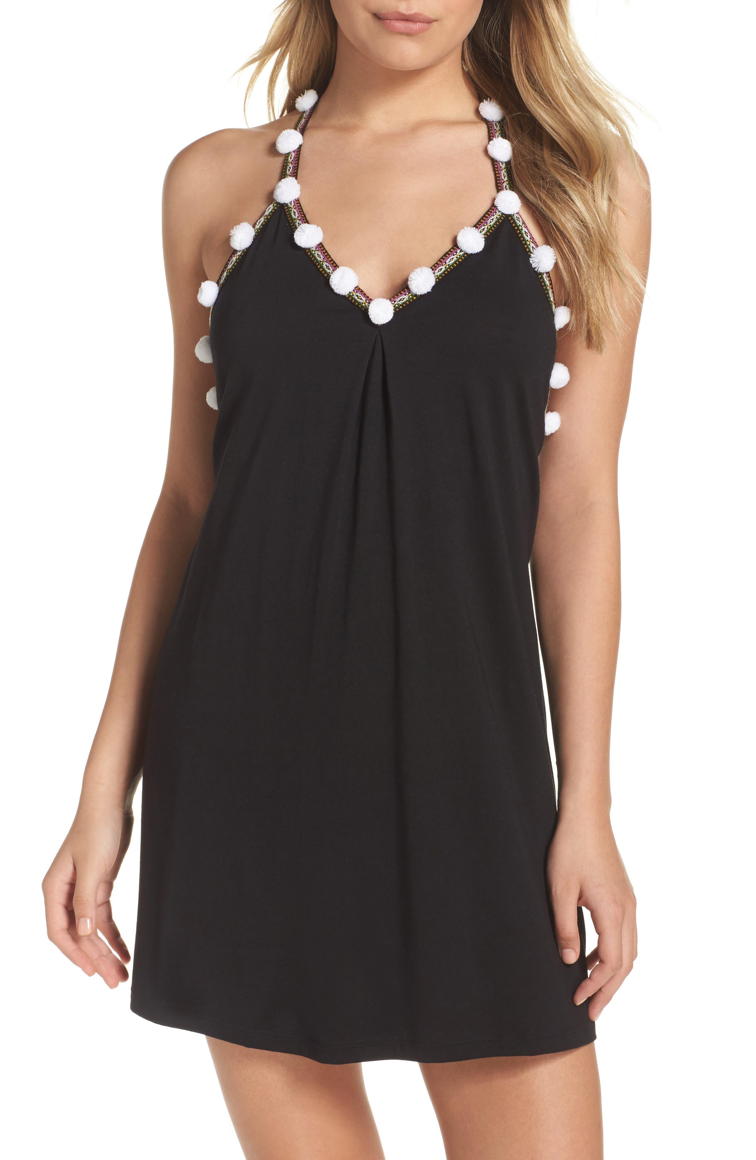 Pom Pom Cover-Up Dress,                         Main,                         color, 001