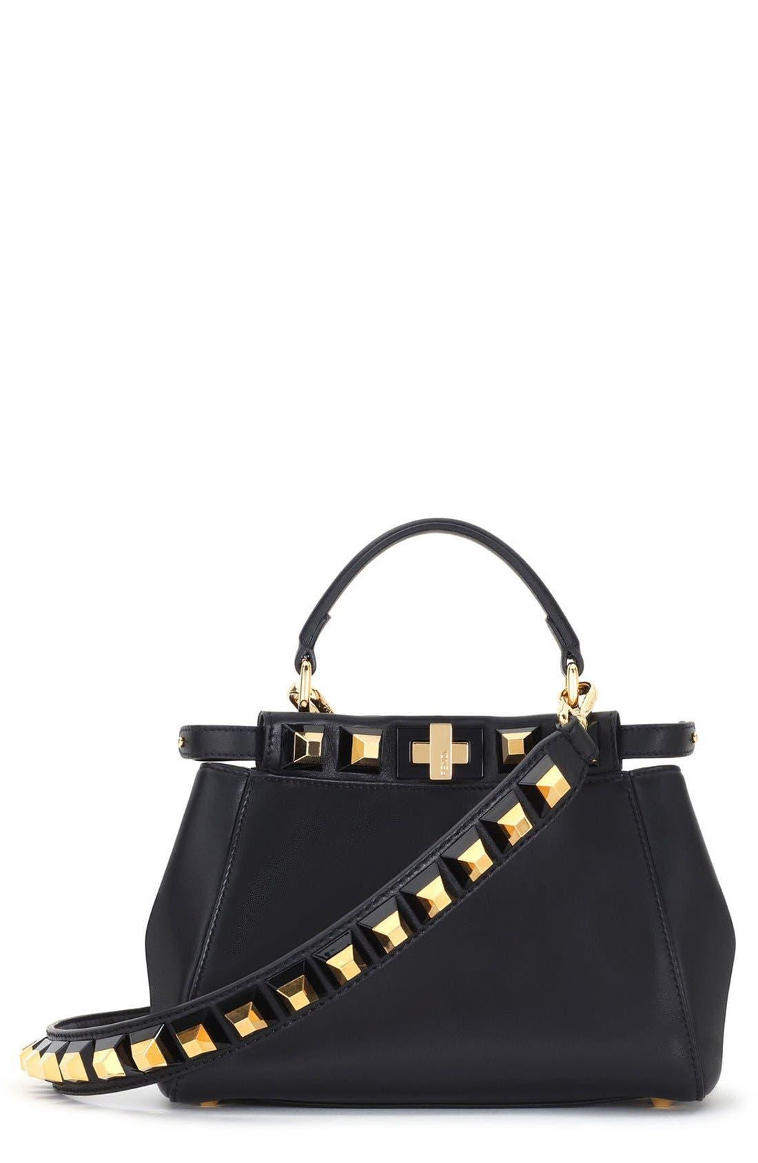 Mini Peekaboo Studded Leather Bag,                             Main thumbnail 1, color,                             006