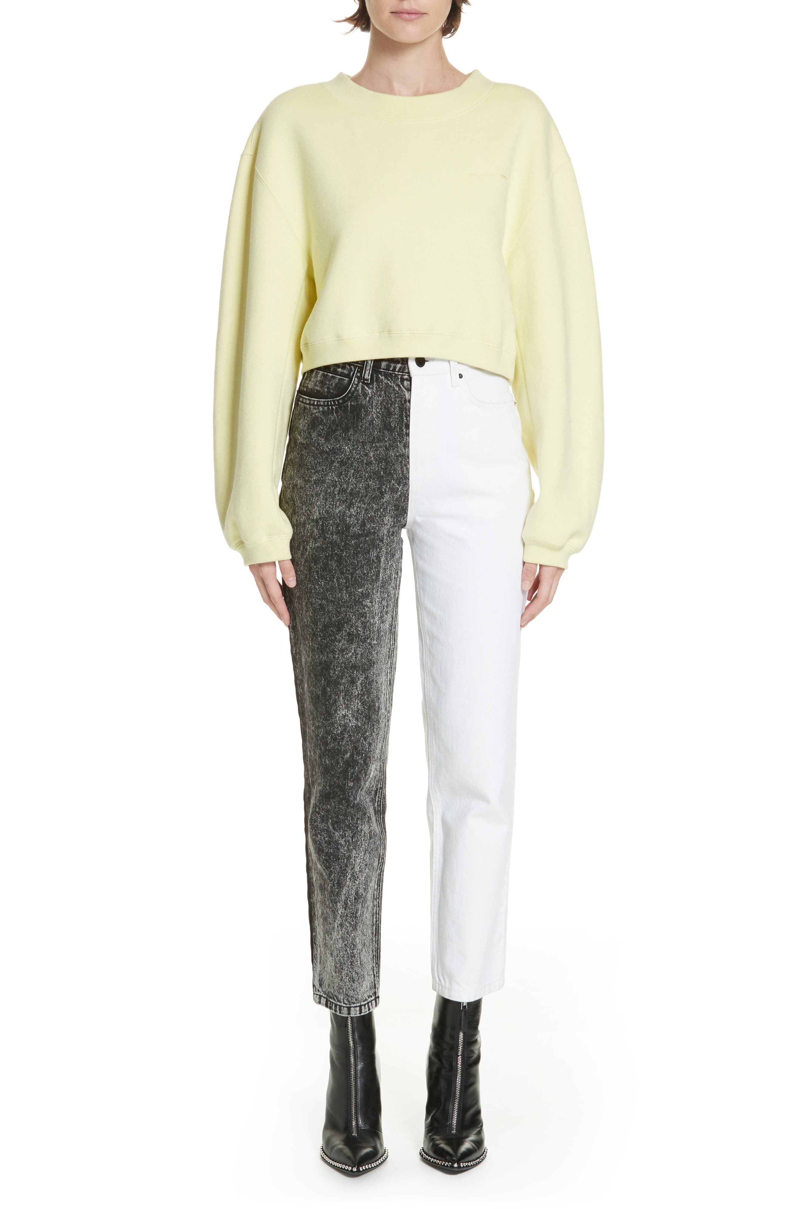 ALEXANDERWANG.T,                             Bluff Classic Bicolor Crop Jeans,                             Alternate thumbnail 7, color,                             MARBLED DARK GREY/ IVORY