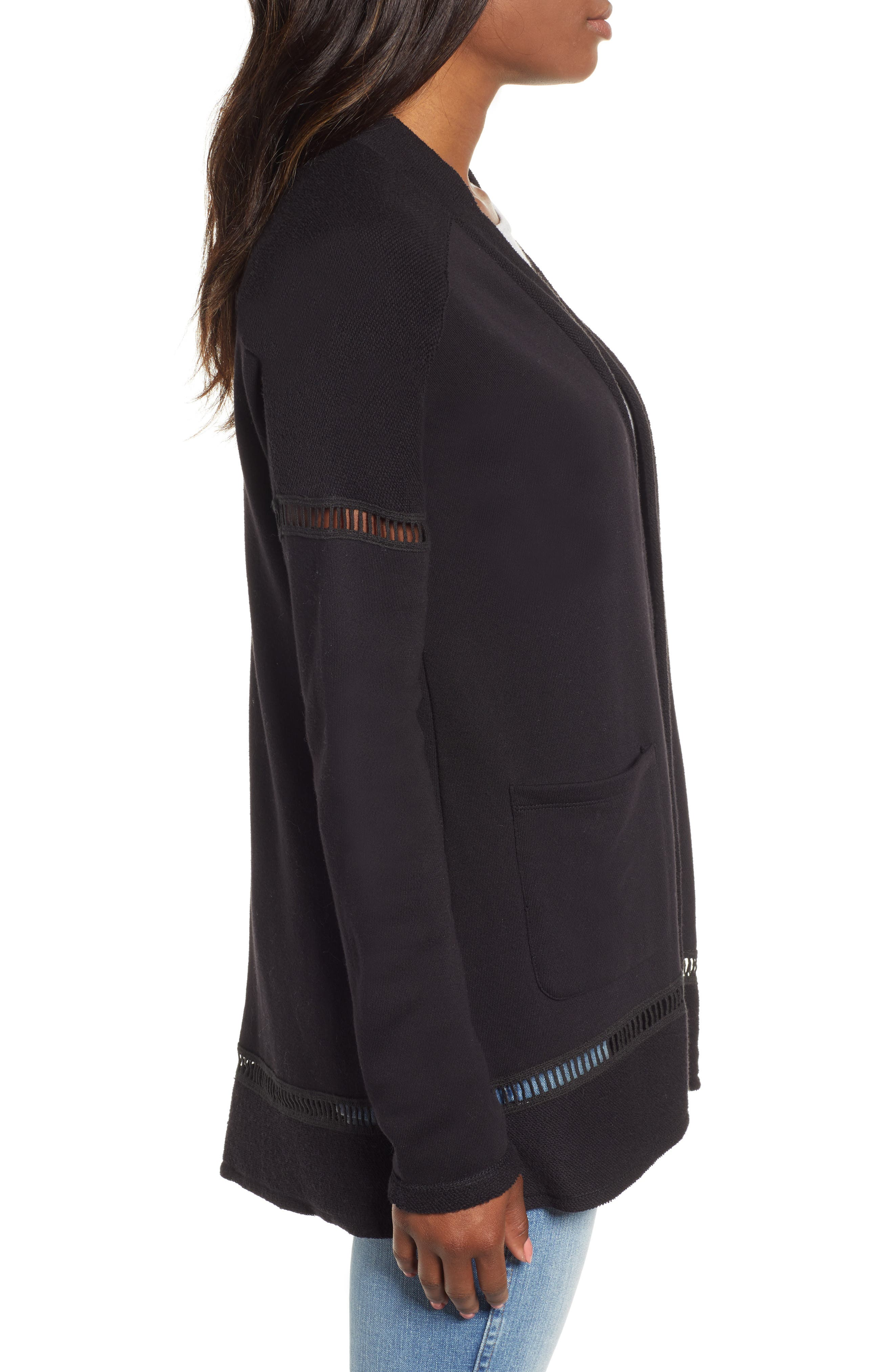 French Terry Open Front Cotton Cardigan,                             Alternate thumbnail 3, color,                             BLACK